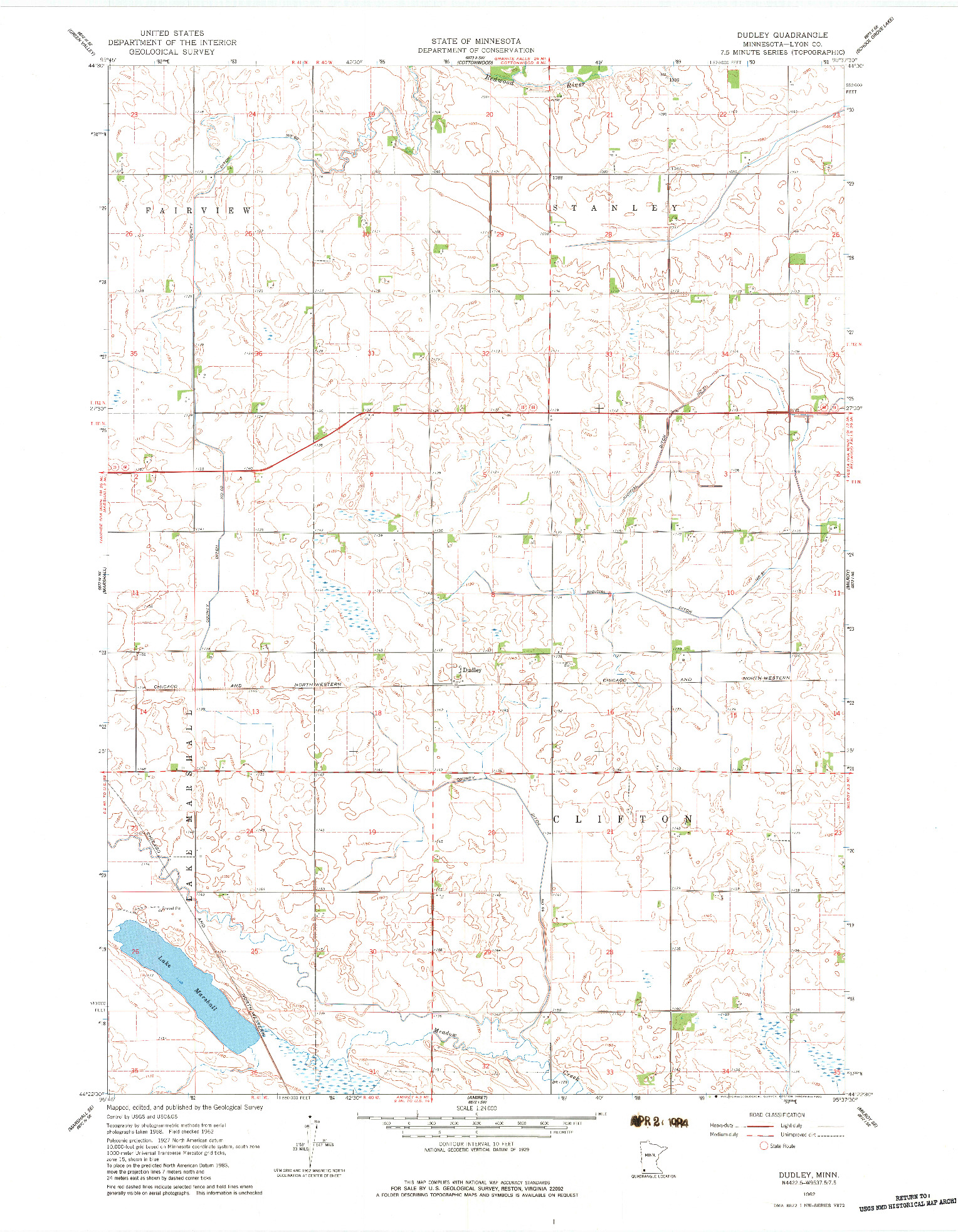 USGS 1:24000-SCALE QUADRANGLE FOR DUDLEY, MN 1962