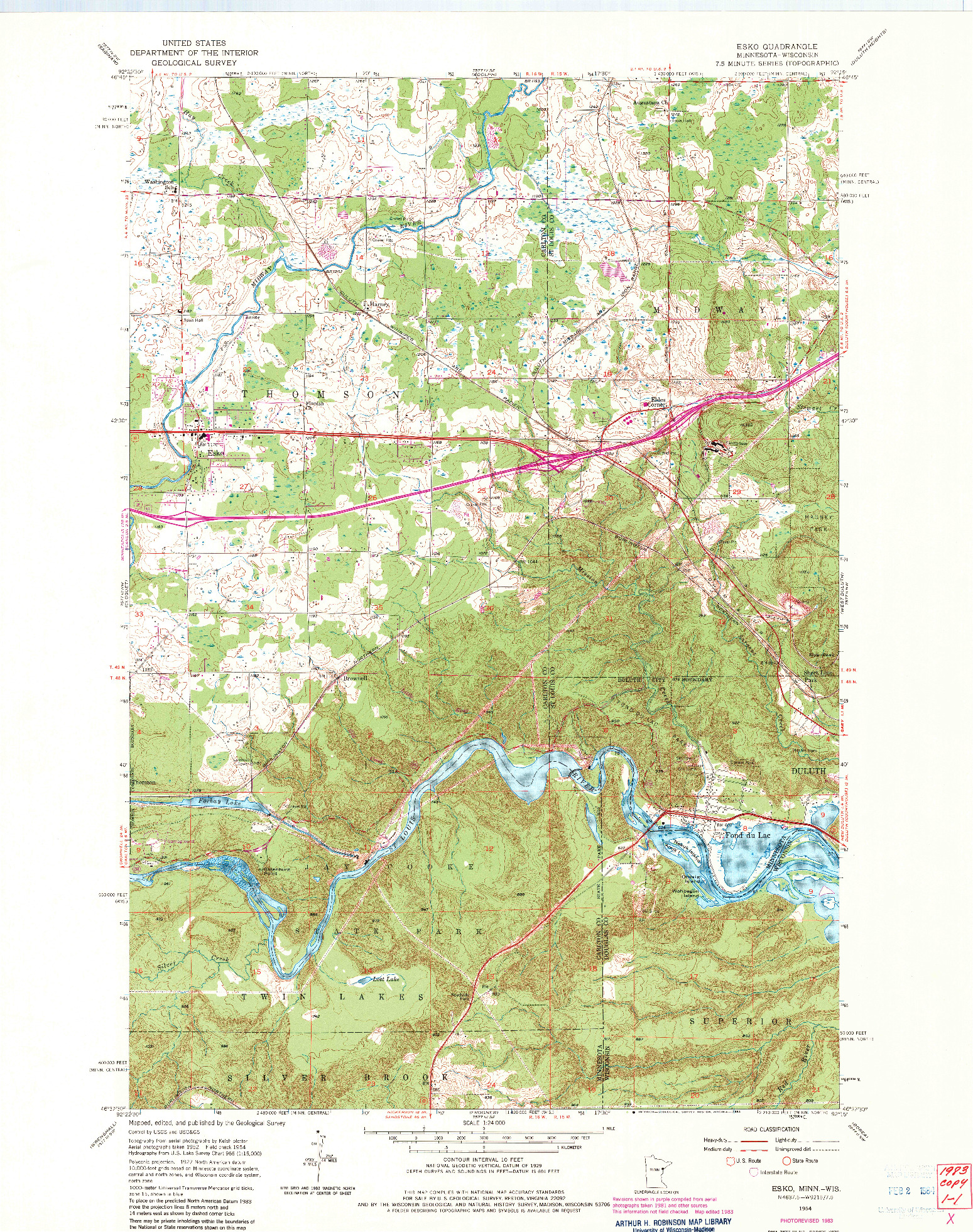 USGS 1:24000-SCALE QUADRANGLE FOR ESKO, MN 1954