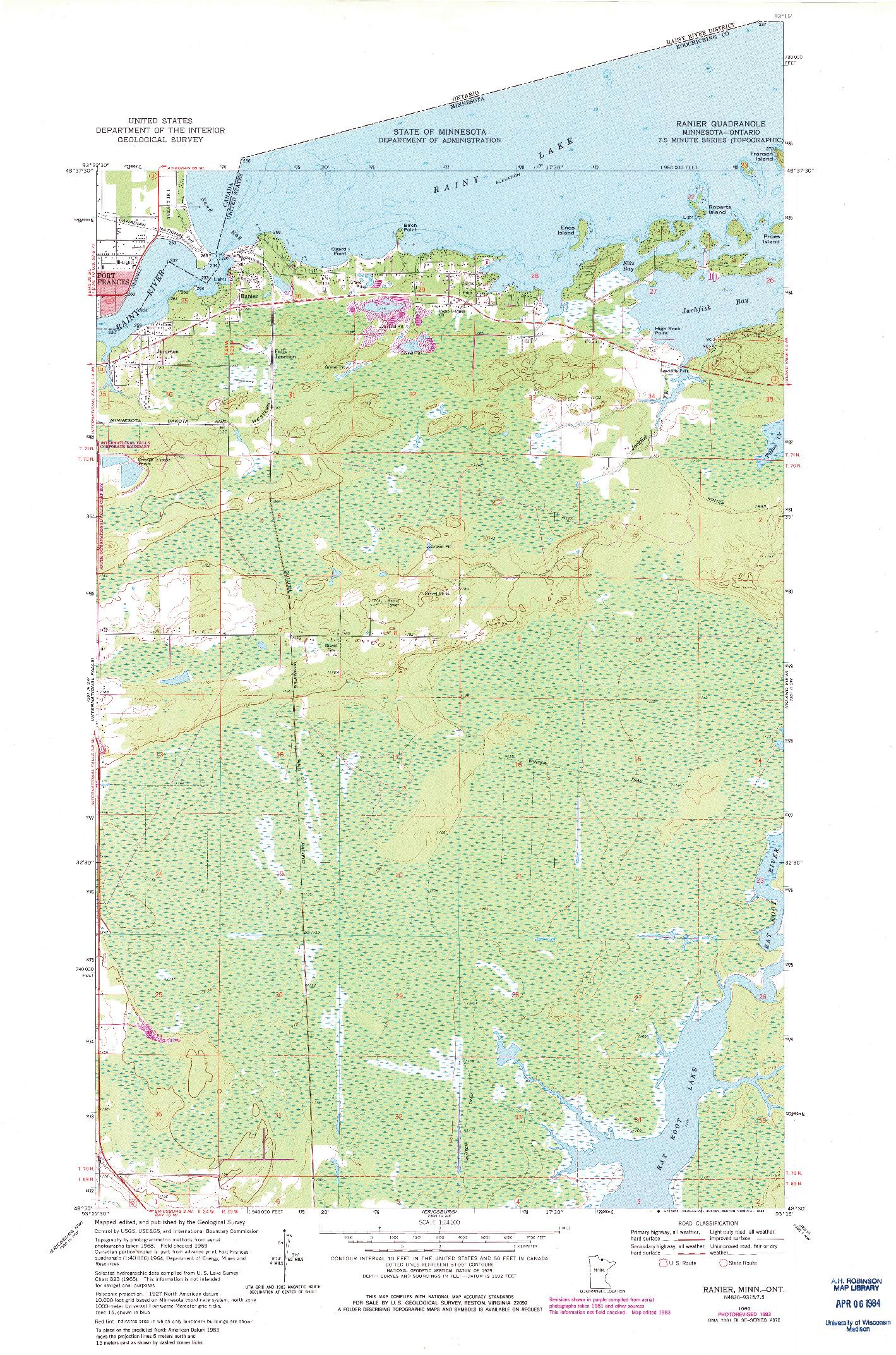 USGS 1:24000-SCALE QUADRANGLE FOR RANIER, MN 1969