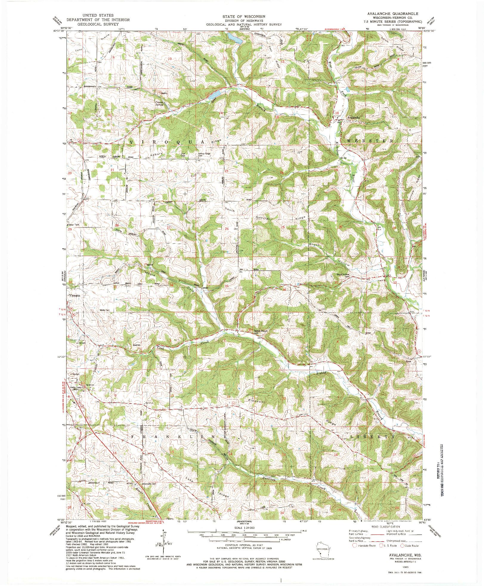 USGS 1:24000-SCALE QUADRANGLE FOR AVALANCHE, WI 1983