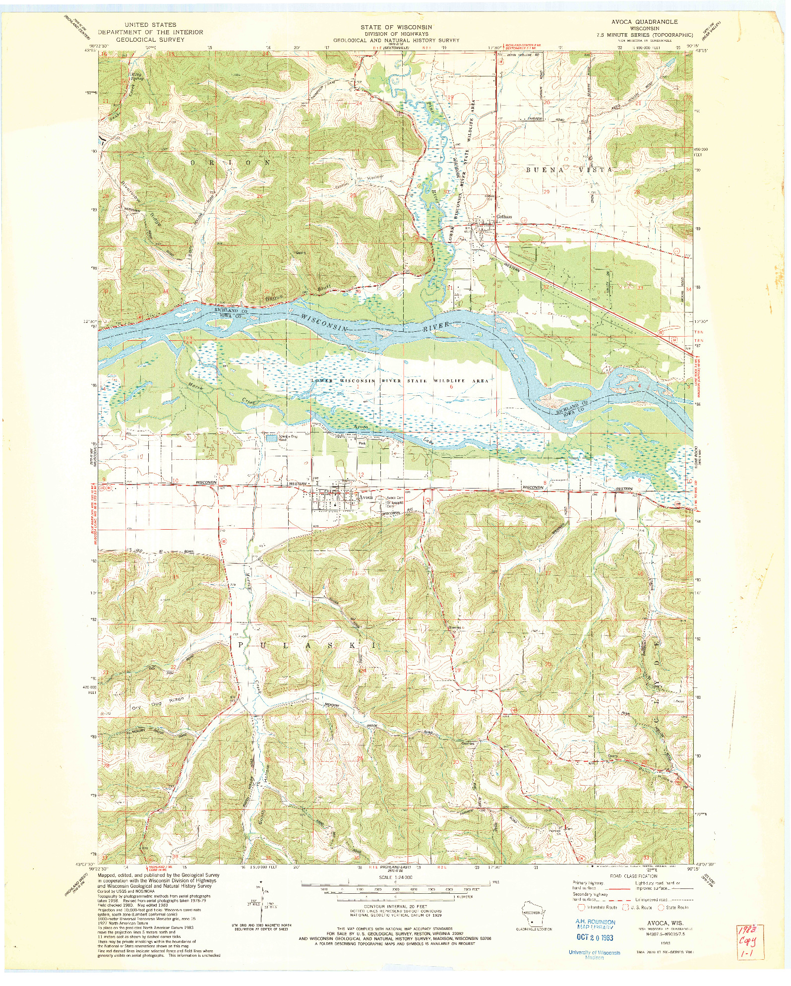 USGS 1:24000-SCALE QUADRANGLE FOR AVOCA, WI 1983