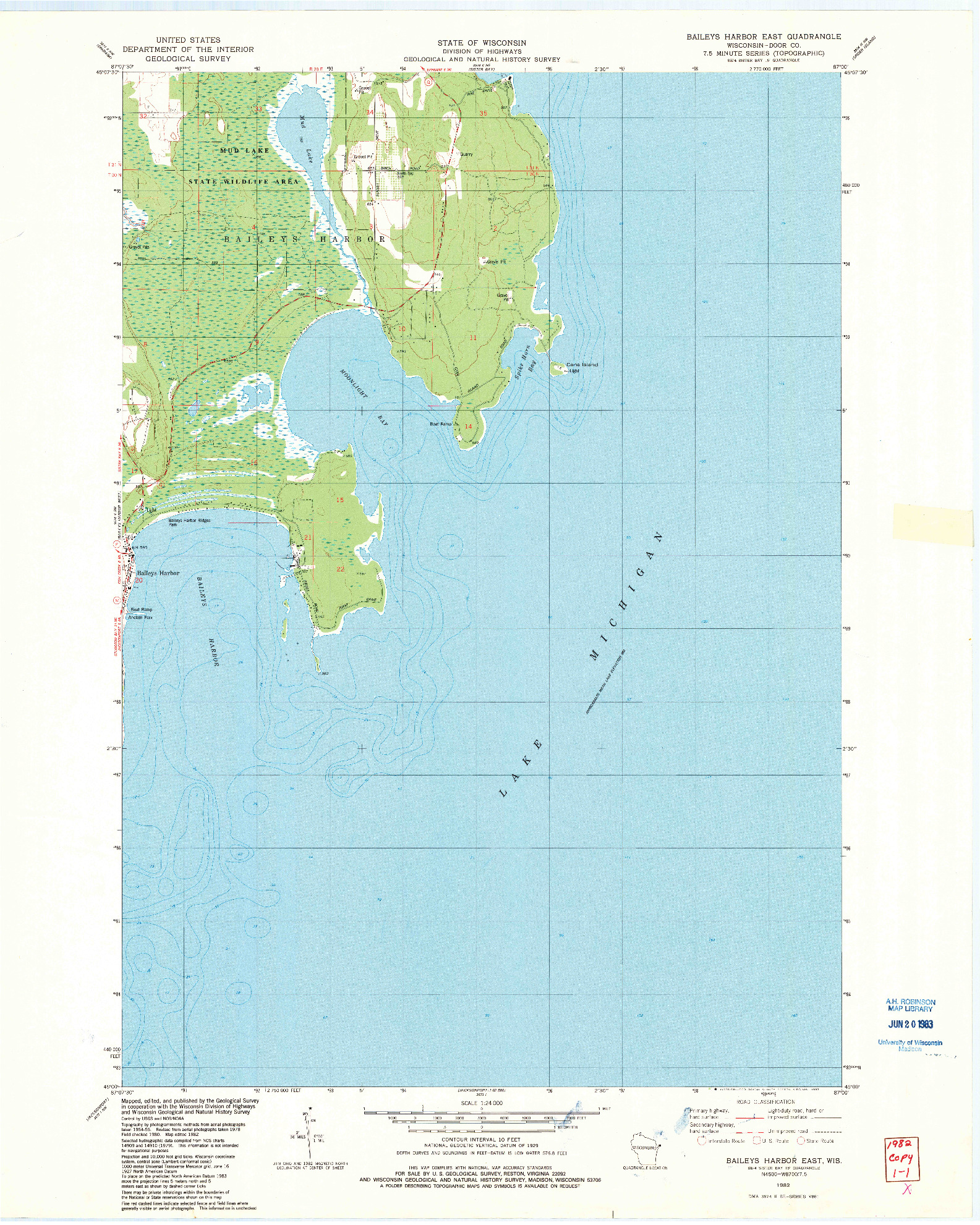 USGS 1:24000-SCALE QUADRANGLE FOR BAILEYS HARBOR EAST, WI 1982