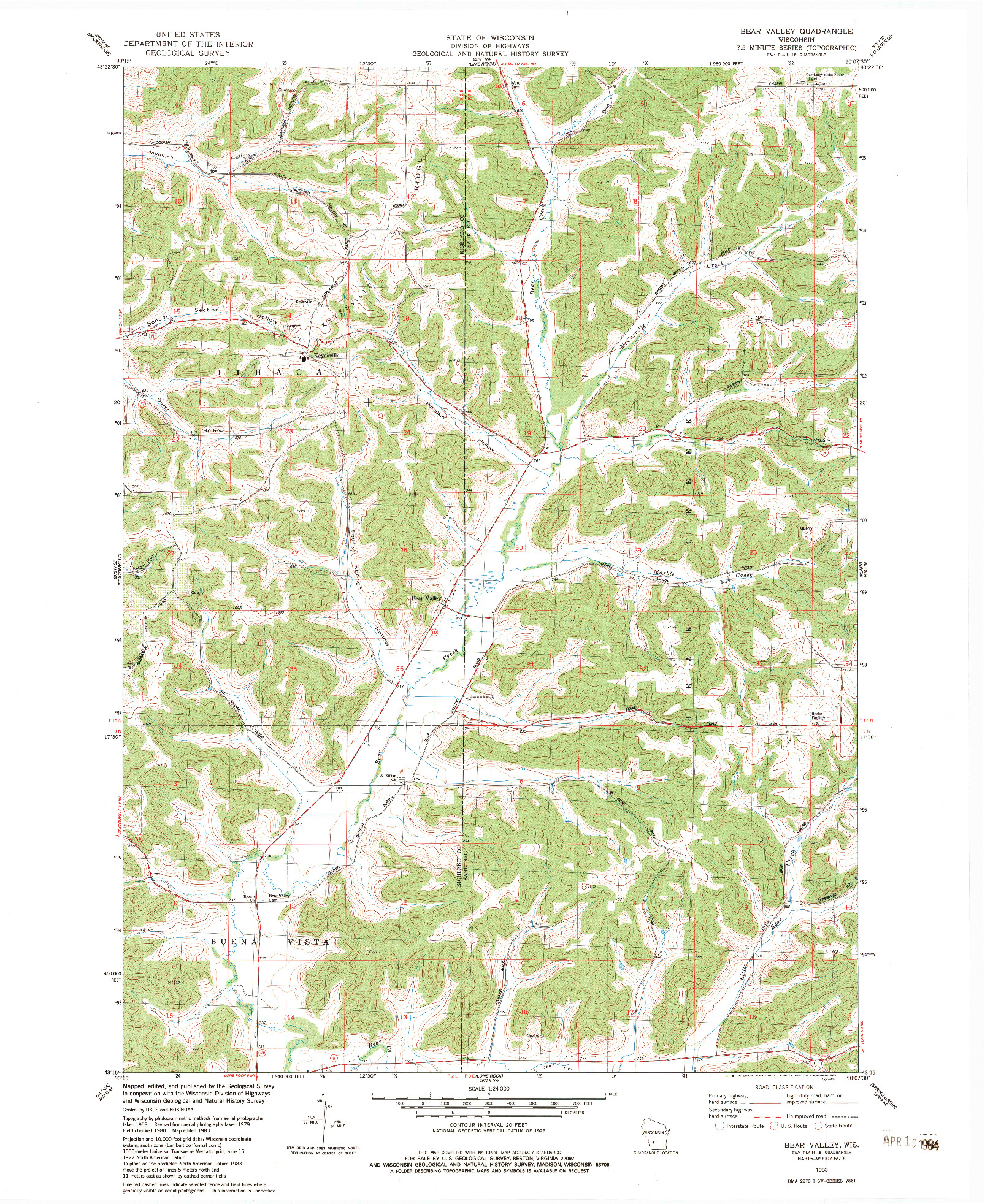 USGS 1:24000-SCALE QUADRANGLE FOR BEAR VALLEY, WI 1983