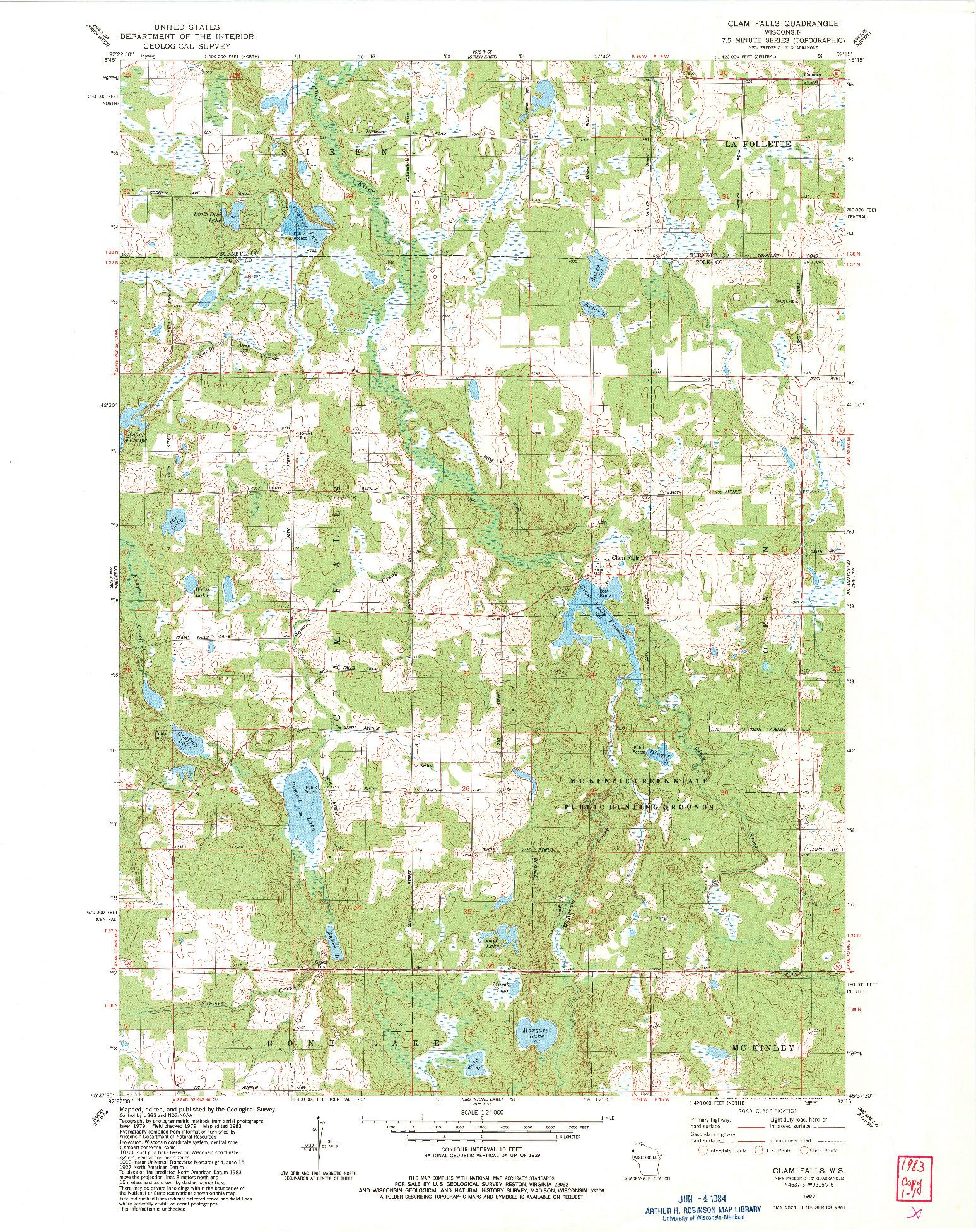 USGS 1:24000-SCALE QUADRANGLE FOR CLAM FALLS, WI 1983