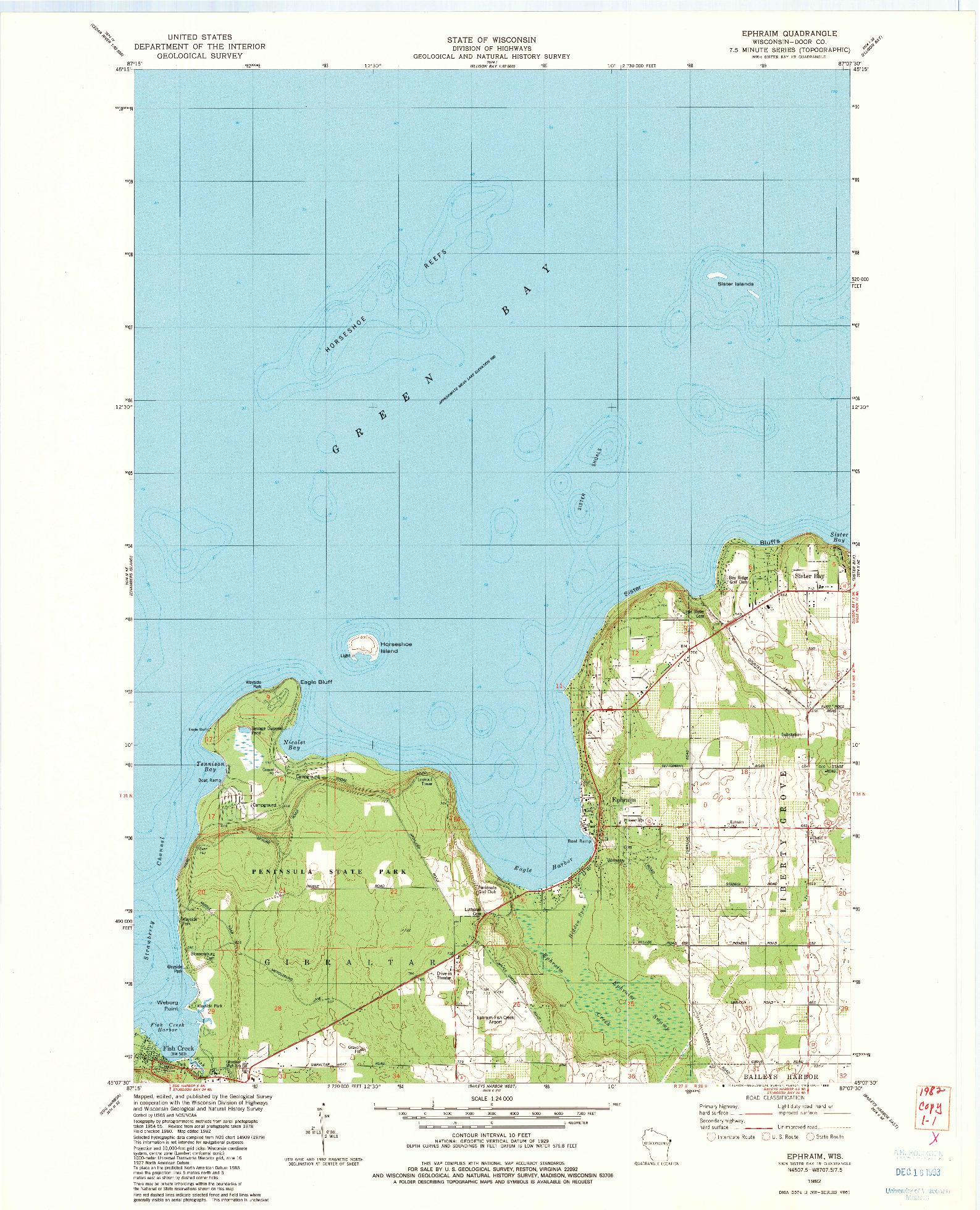 USGS 1:24000-SCALE QUADRANGLE FOR EPHRAIM, WI 1982