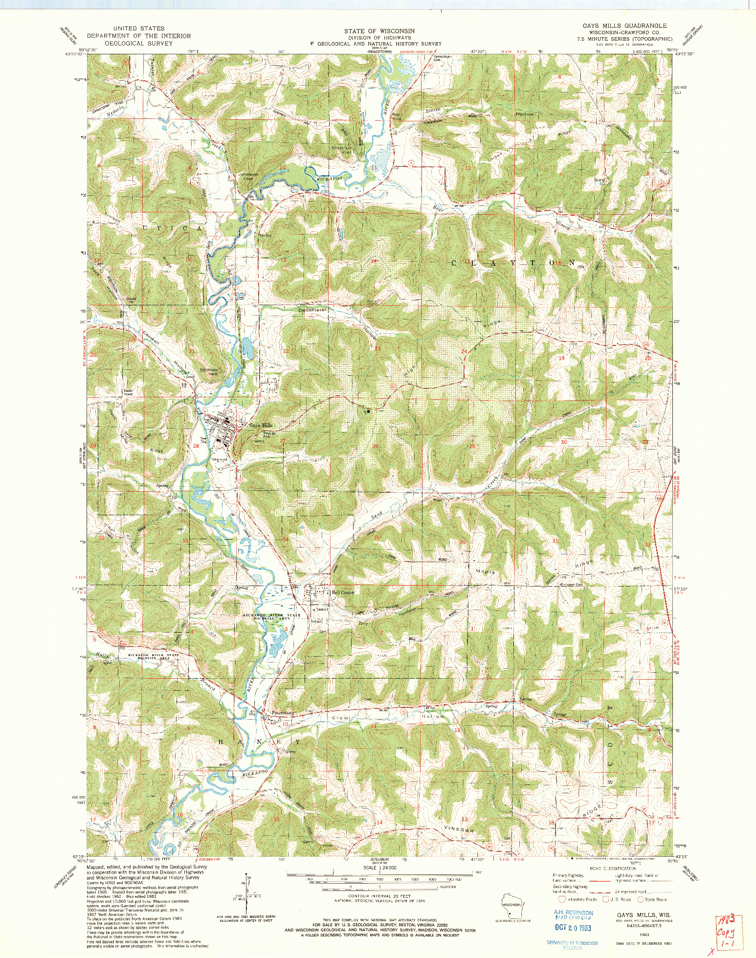 USGS 1:24000-SCALE QUADRANGLE FOR GAYS MILLS, WI 1983