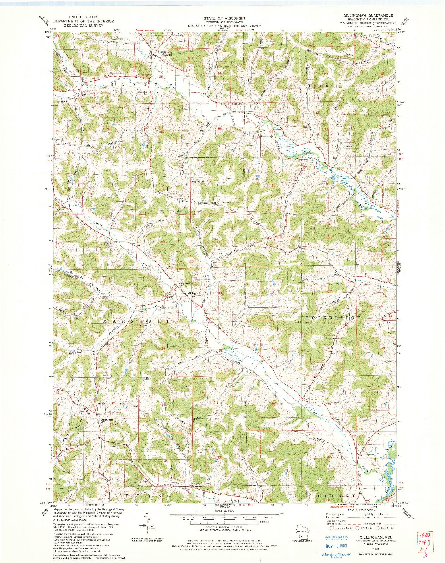 USGS 1:24000-SCALE QUADRANGLE FOR GILLINGHAM, WI 1983