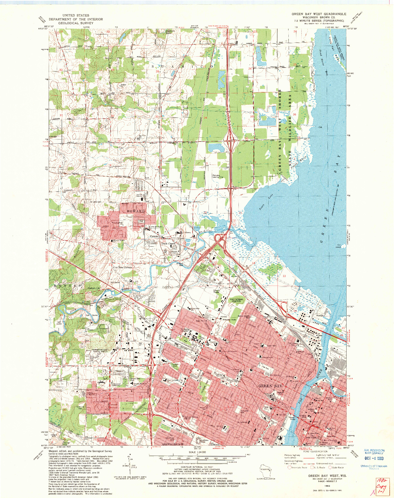 USGS 1:24000-SCALE QUADRANGLE FOR GREEN BAY WEST, WI 1982