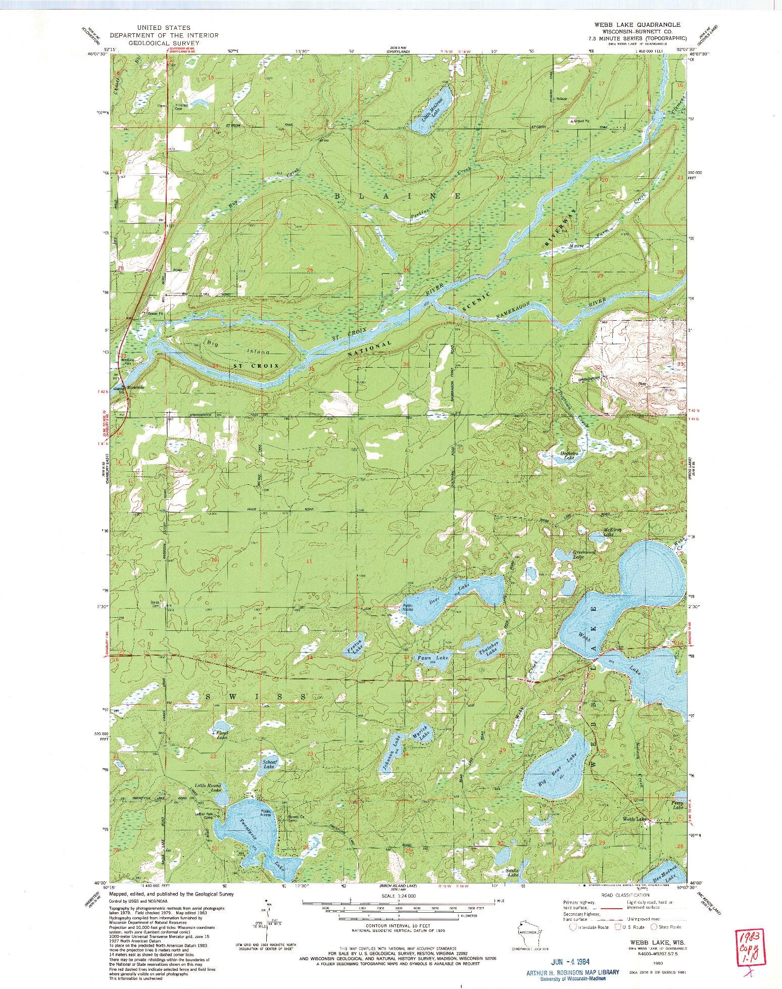 USGS 1:24000-SCALE QUADRANGLE FOR WEBB LAKE, WI 1983