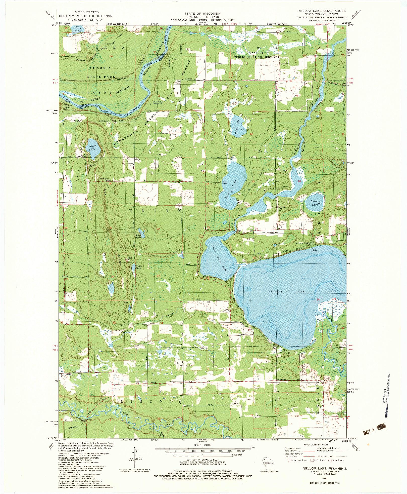 USGS 1:24000-SCALE QUADRANGLE FOR YELLOW LAKE, WI 1982