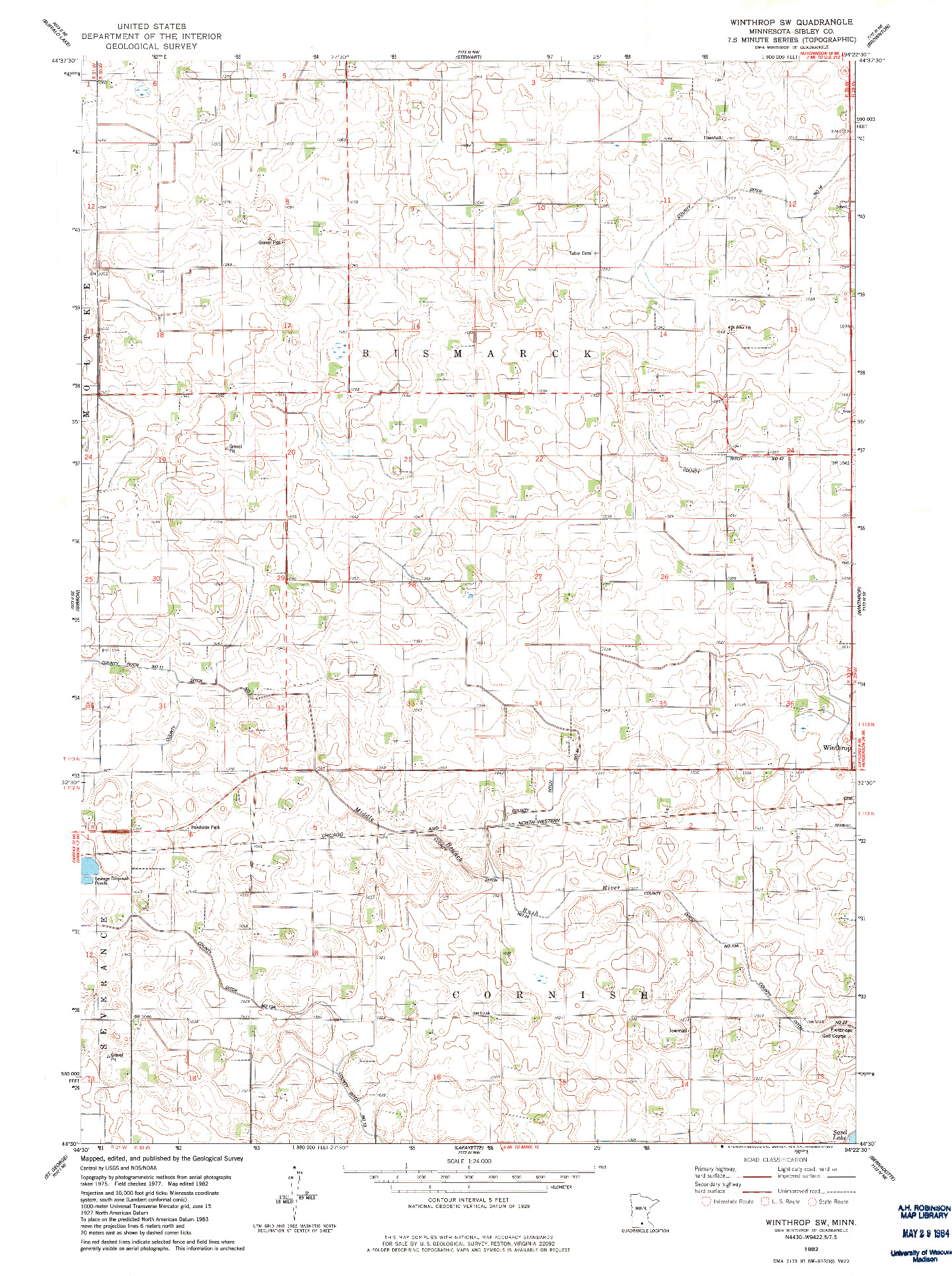 USGS 1:24000-SCALE QUADRANGLE FOR WINTHROP SW, MN 1982