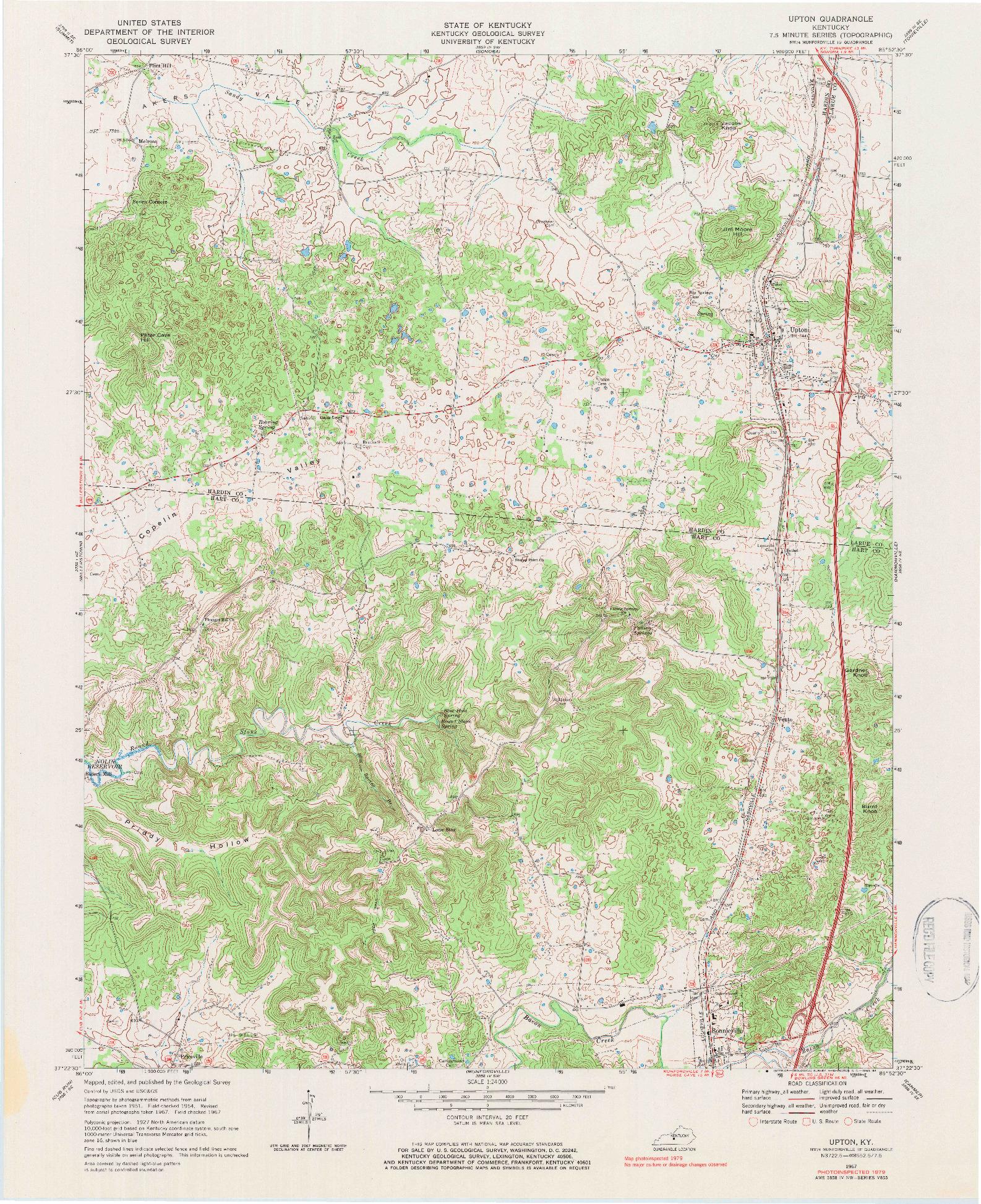 USGS 1:24000-SCALE QUADRANGLE FOR UPTON, KY 1979