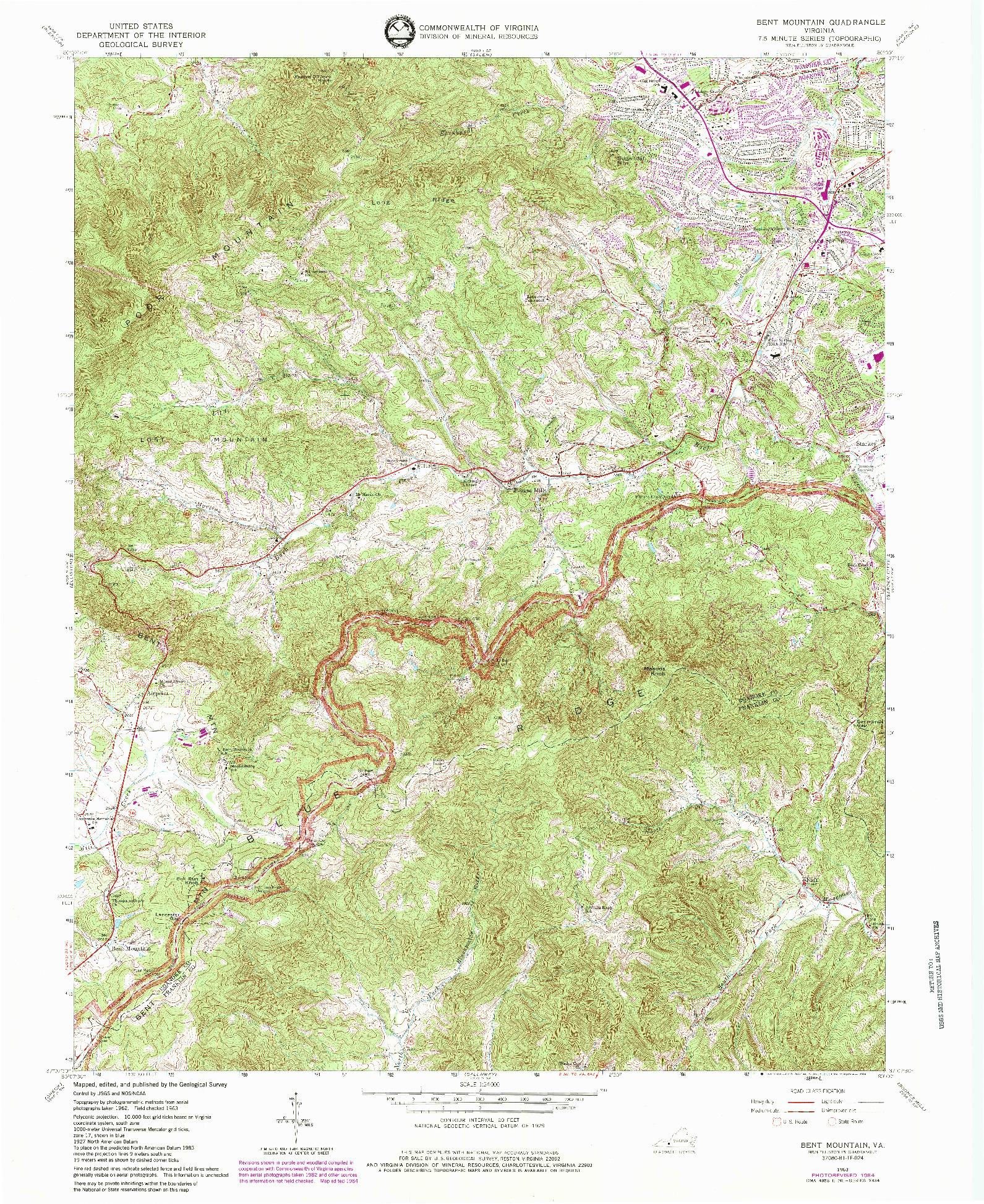 USGS 1:24000-SCALE QUADRANGLE FOR BENT MOUNTAIN, VA 1963