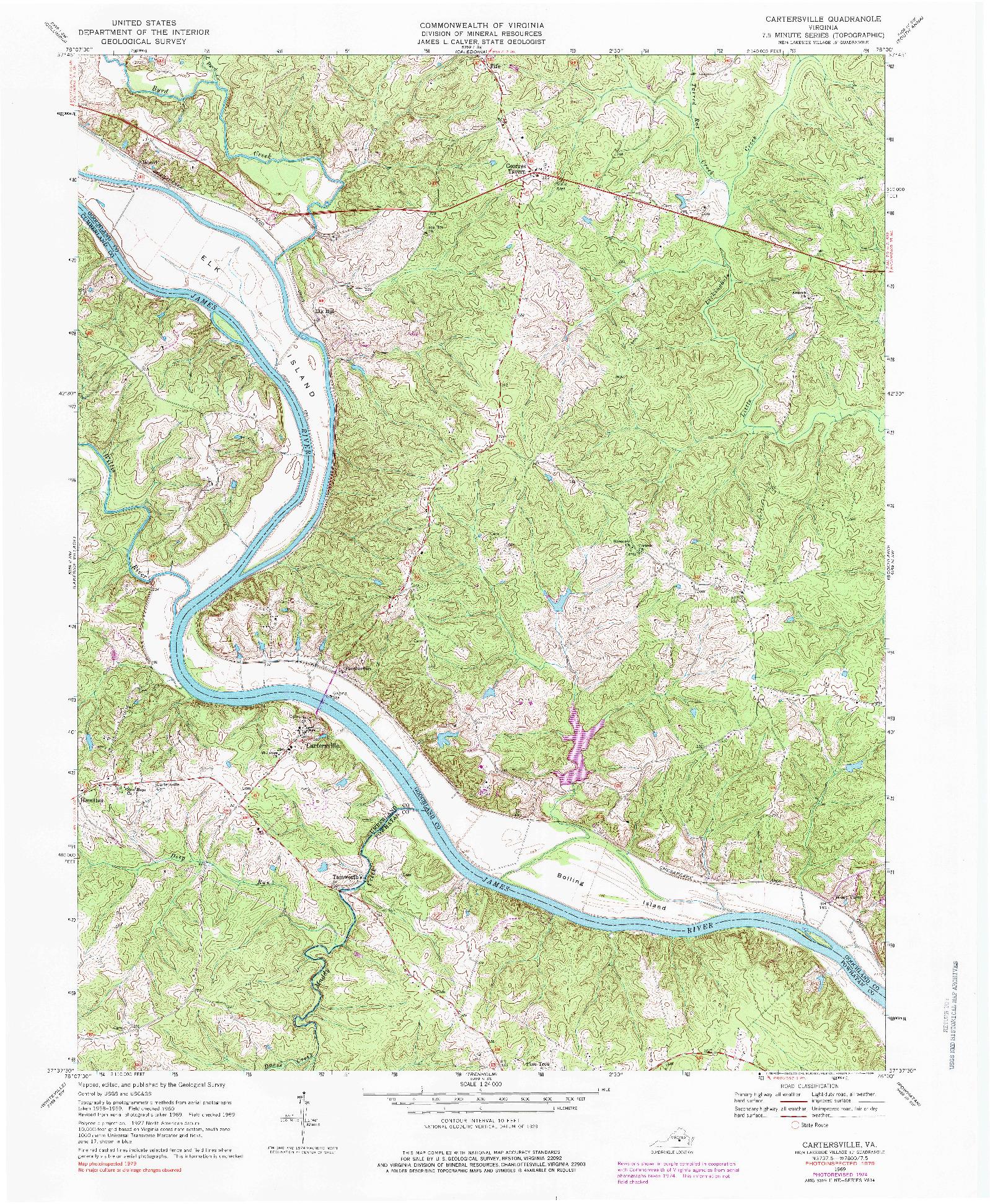 USGS 1:24000-SCALE QUADRANGLE FOR CARTERSVILLE, VA 1969