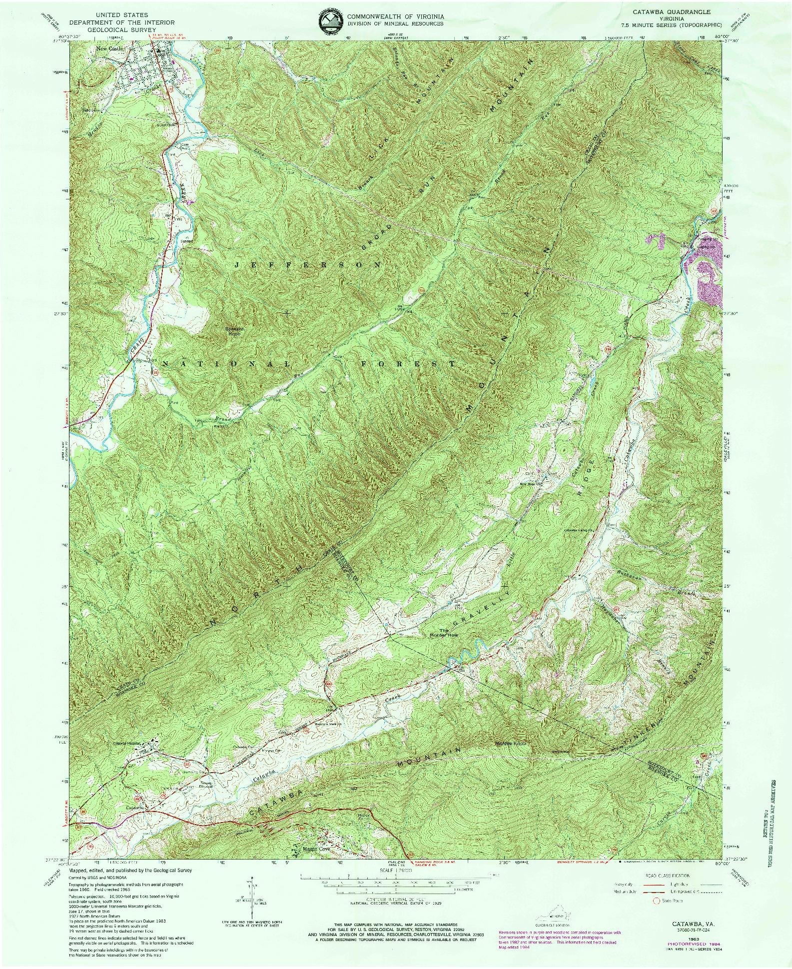USGS 1:24000-SCALE QUADRANGLE FOR CATAWBA, VA 1963
