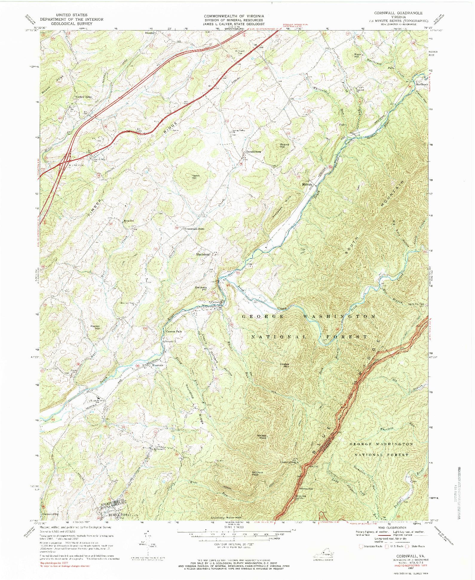 USGS 1:24000-SCALE QUADRANGLE FOR CORNWALL, VA 1967