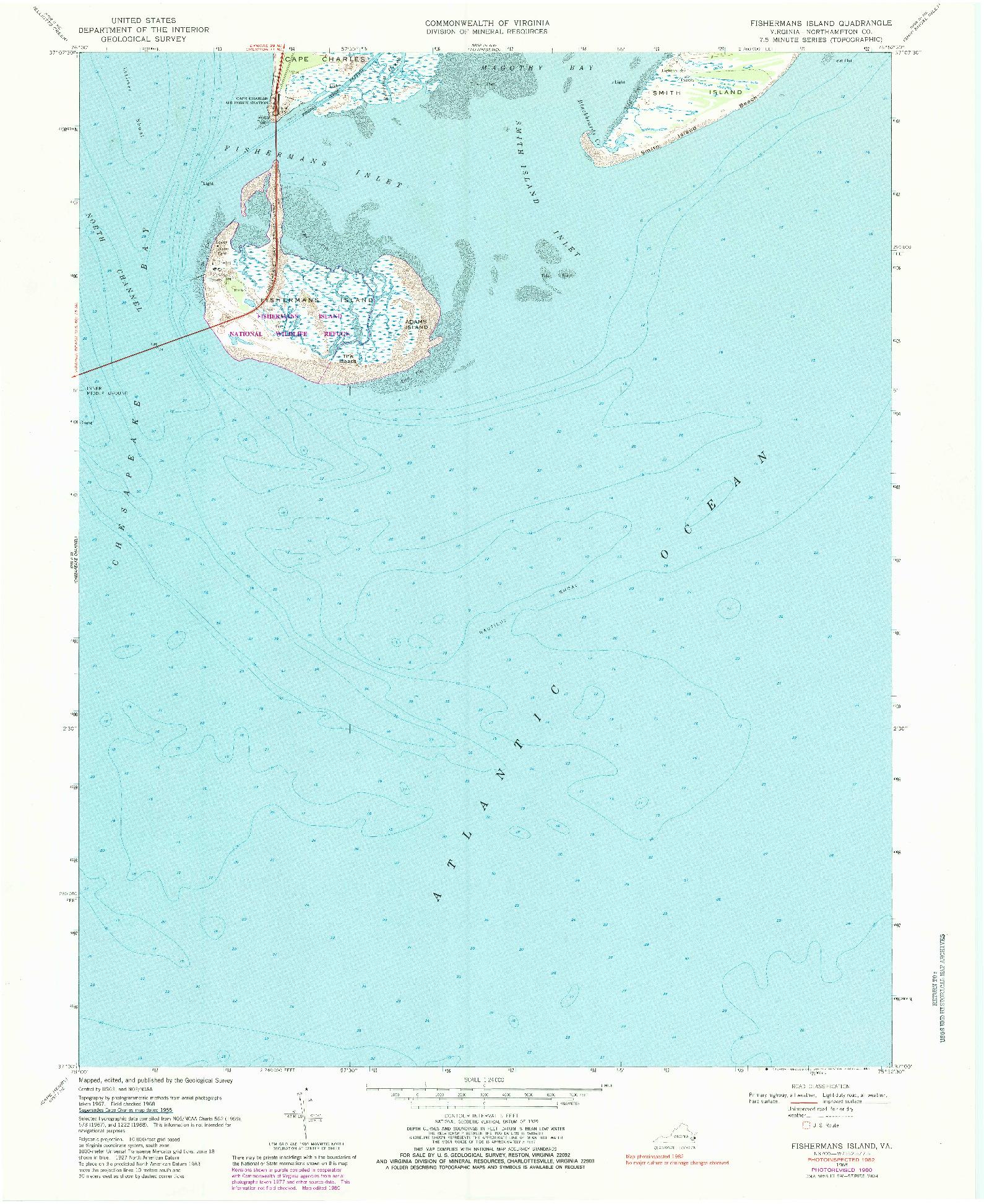 USGS 1:24000-SCALE QUADRANGLE FOR FISHERMANS ISLAND, VA 1968
