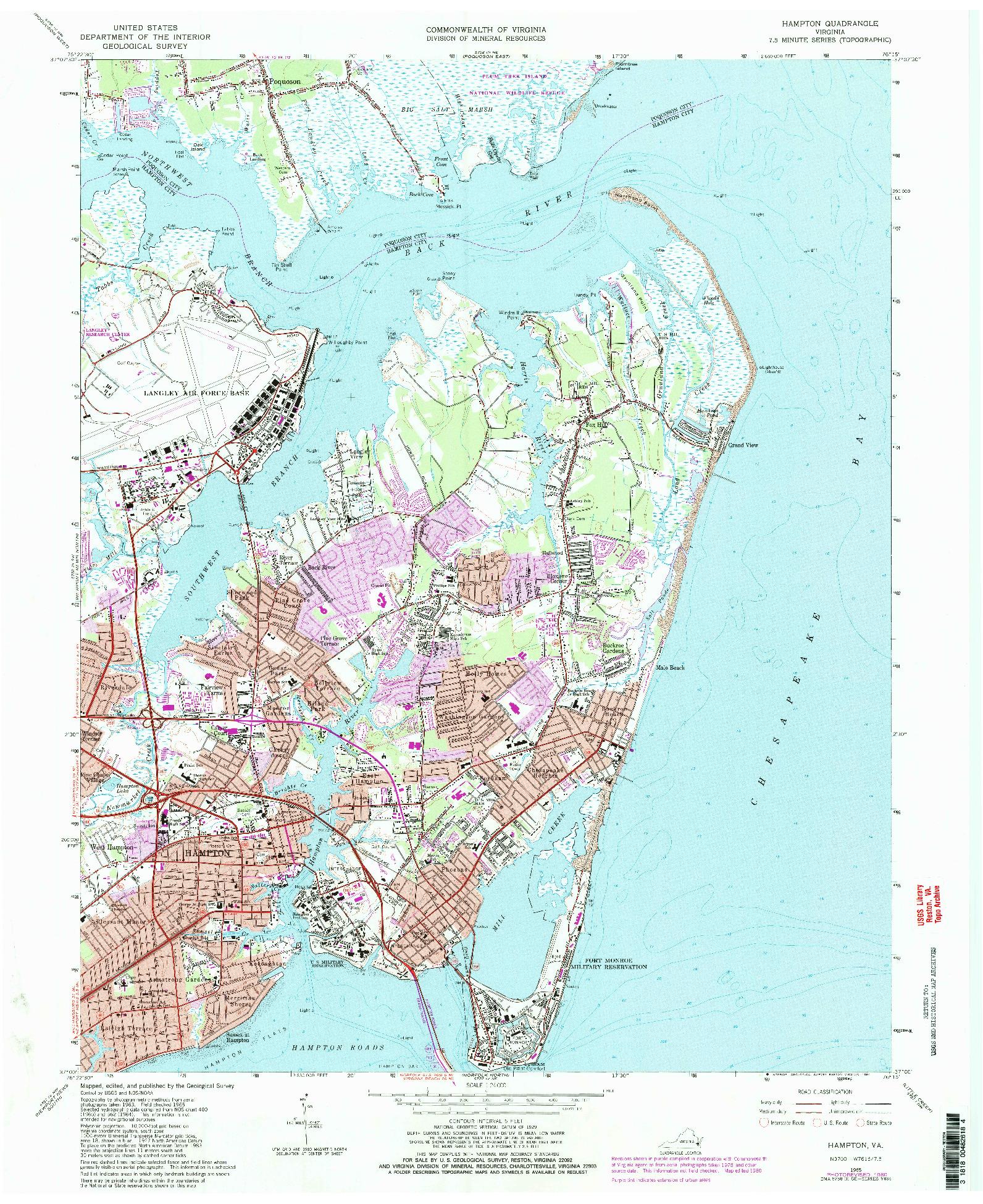 USGS 1:24000-SCALE QUADRANGLE FOR HAMPTON, VA 1965