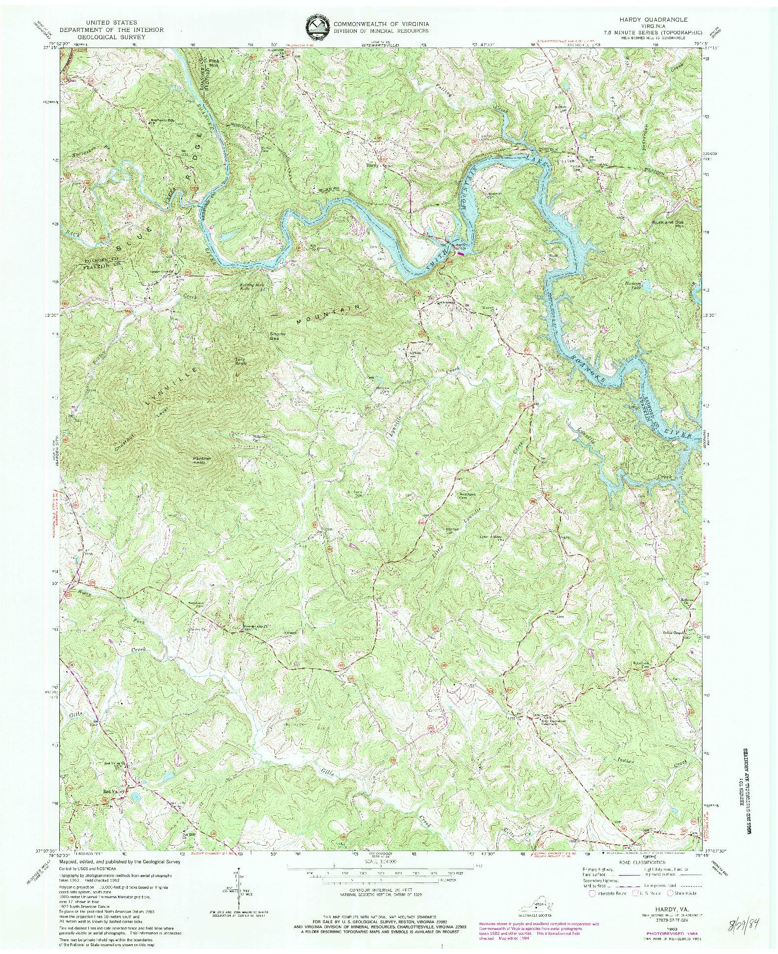 USGS 1:24000-SCALE QUADRANGLE FOR HARDY, VA 1963