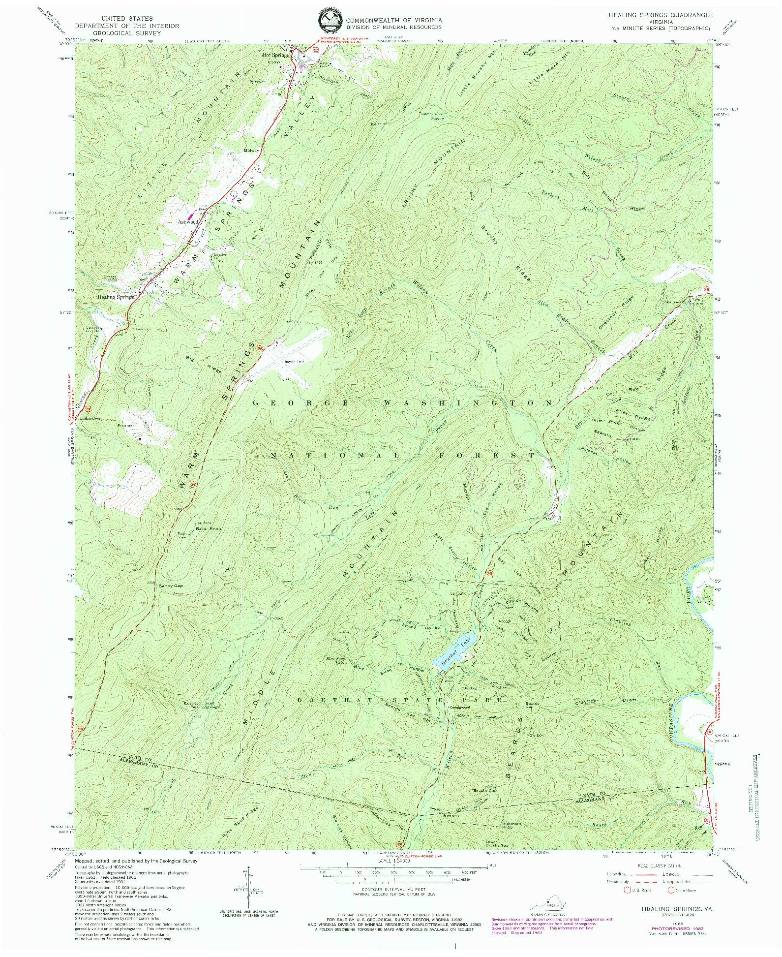 USGS 1:24000-SCALE QUADRANGLE FOR HEALING SPRINGS, VA 1966