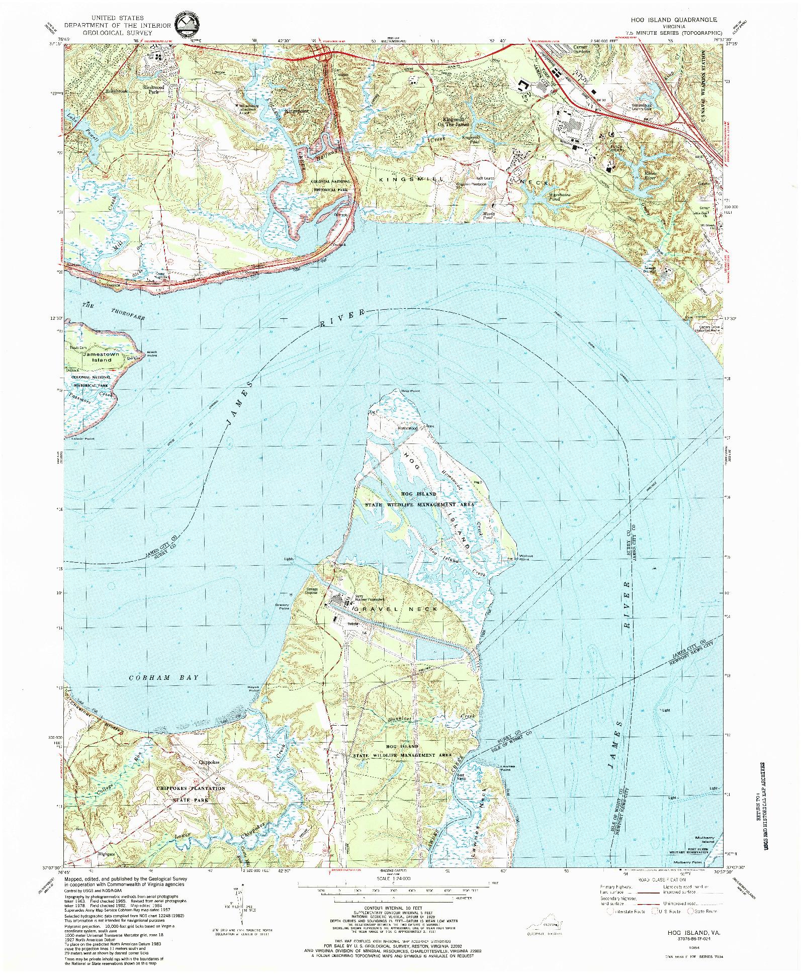 USGS 1:24000-SCALE QUADRANGLE FOR HOG ISLAND, VA 1984
