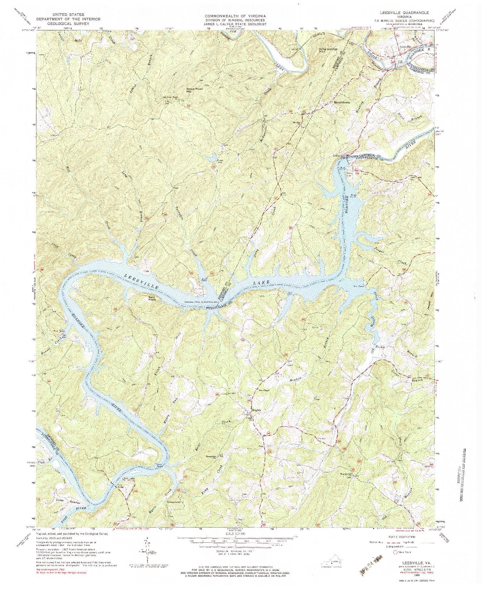 USGS 1:24000-SCALE QUADRANGLE FOR LEESVILLE, VA 1966