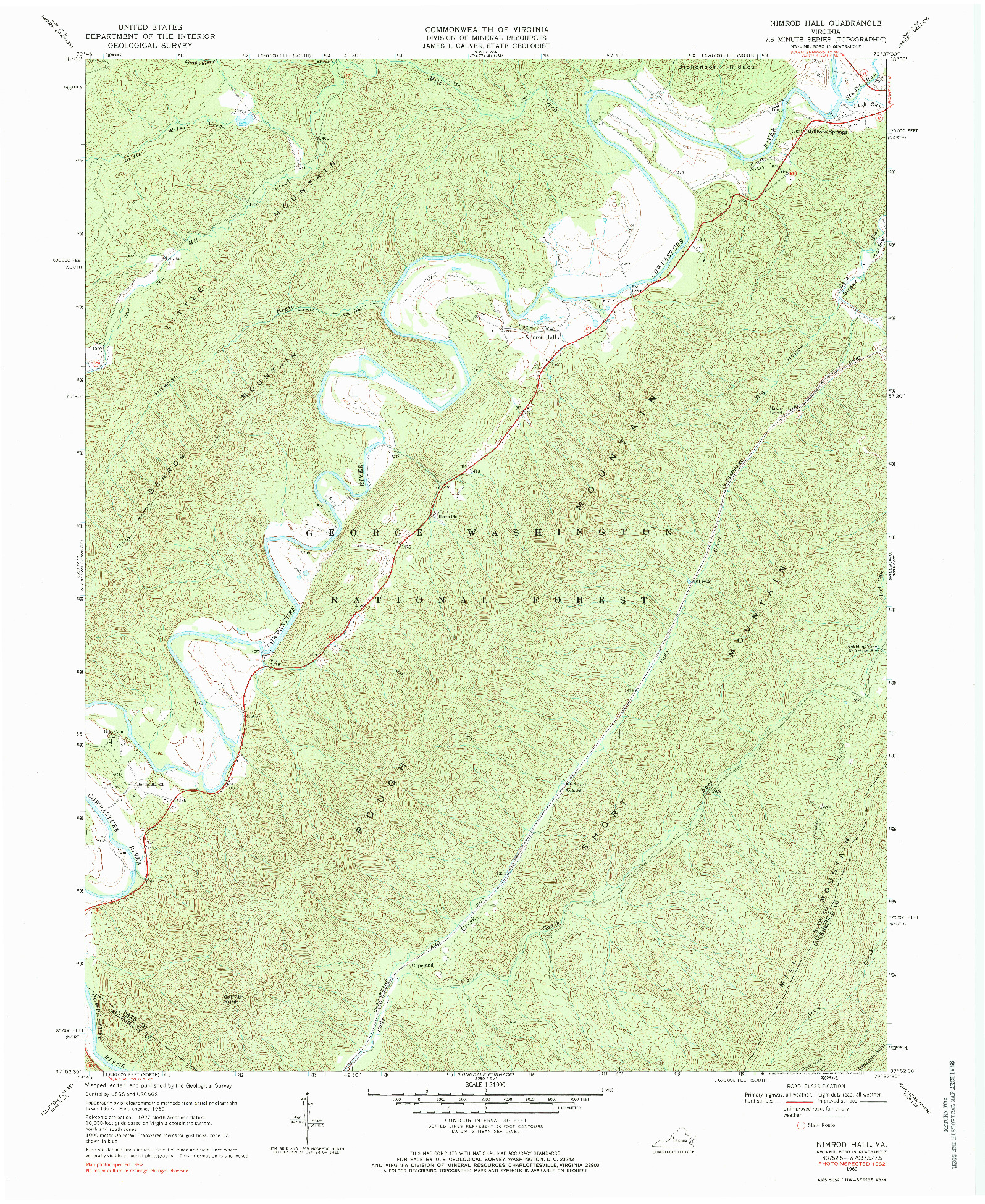 USGS 1:24000-SCALE QUADRANGLE FOR NIMROD HALL, VA 1969