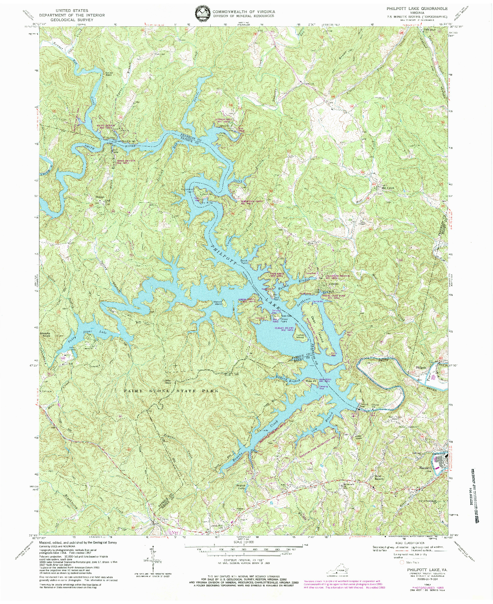 USGS 1:24000-SCALE QUADRANGLE FOR PHILPOTT LAKE, VA 1967