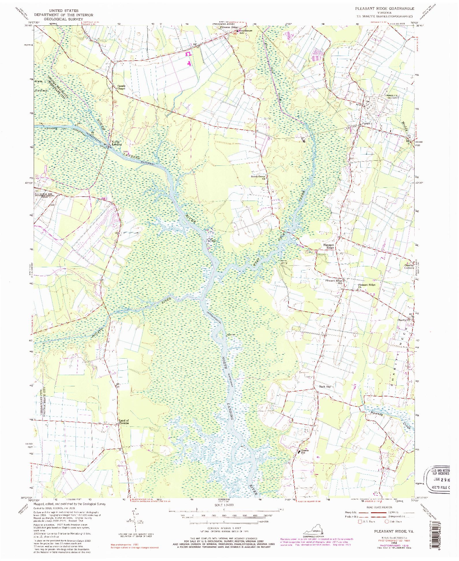 USGS 1:24000-SCALE QUADRANGLE FOR PLEASANT RIDGE, VA 1954