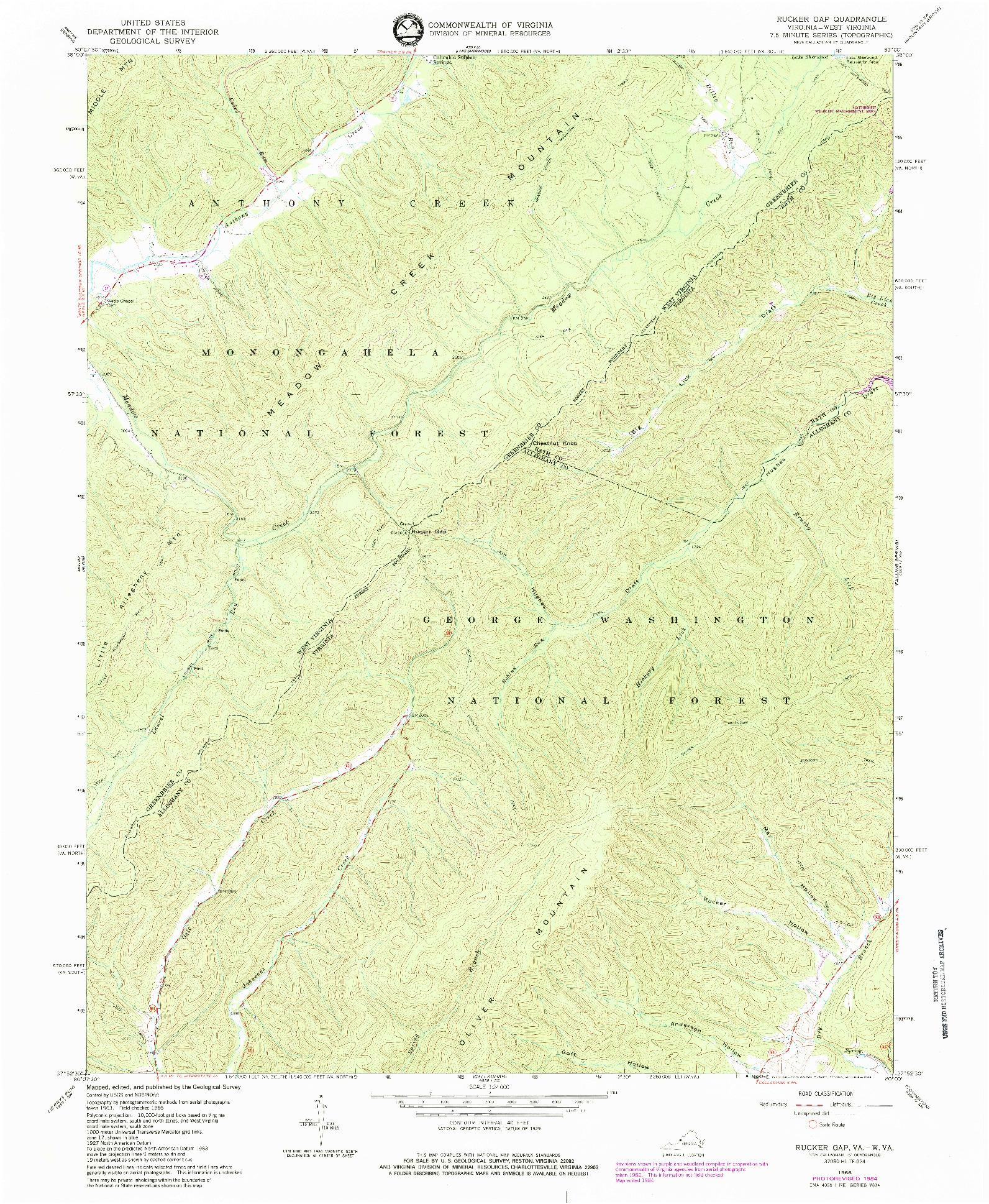 USGS 1:24000-SCALE QUADRANGLE FOR RUCKER GAP, VA 1966