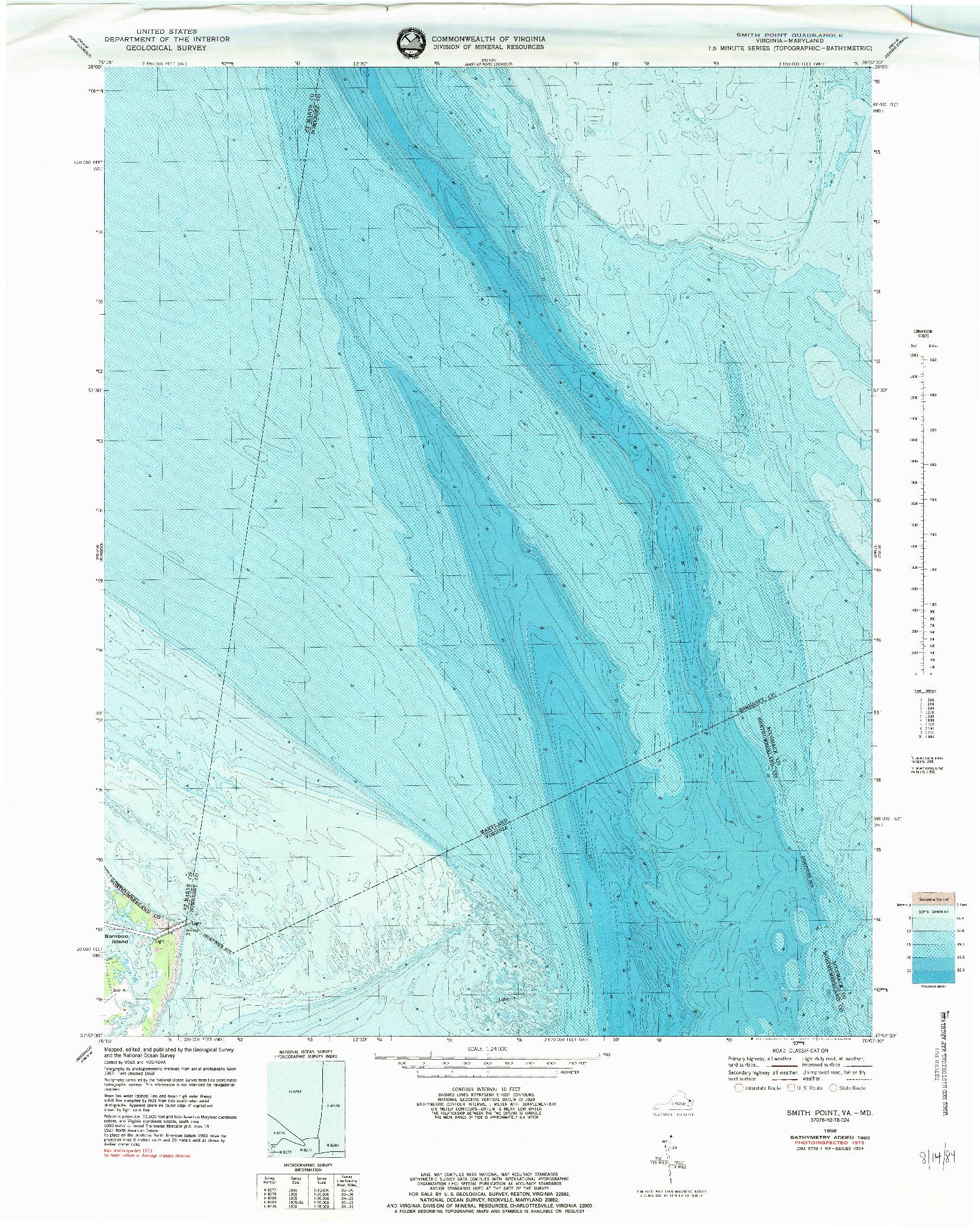 USGS 1:24000-SCALE QUADRANGLE FOR SMITH POINT, VA 1968