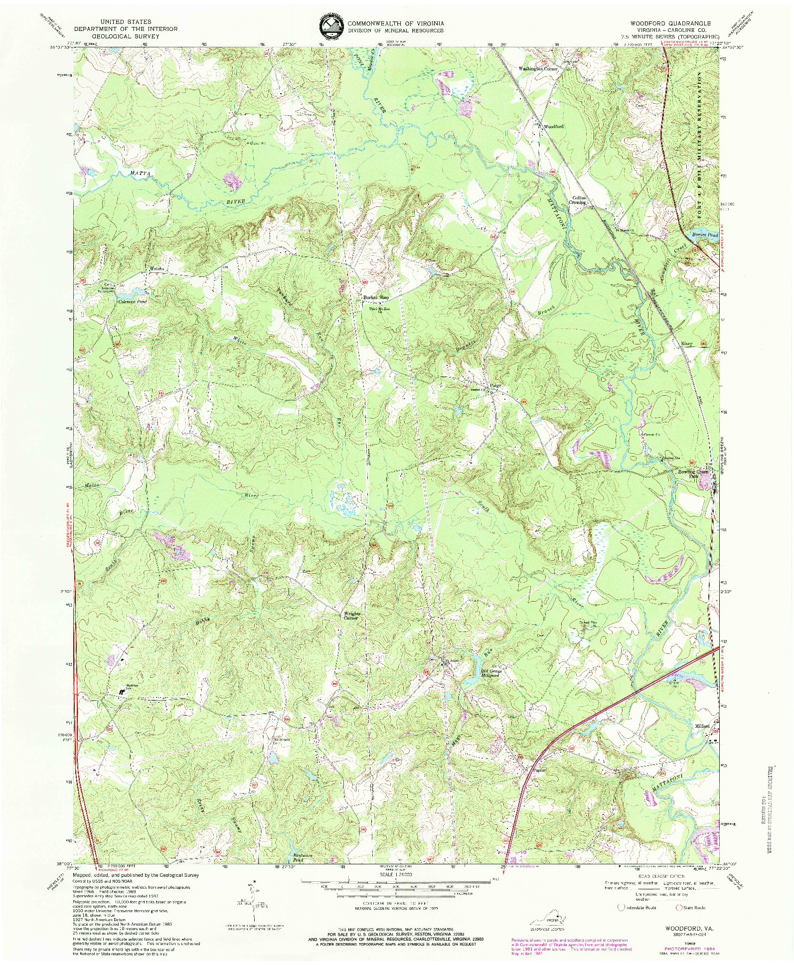USGS 1:24000-SCALE QUADRANGLE FOR WOODFORD, VA 1969
