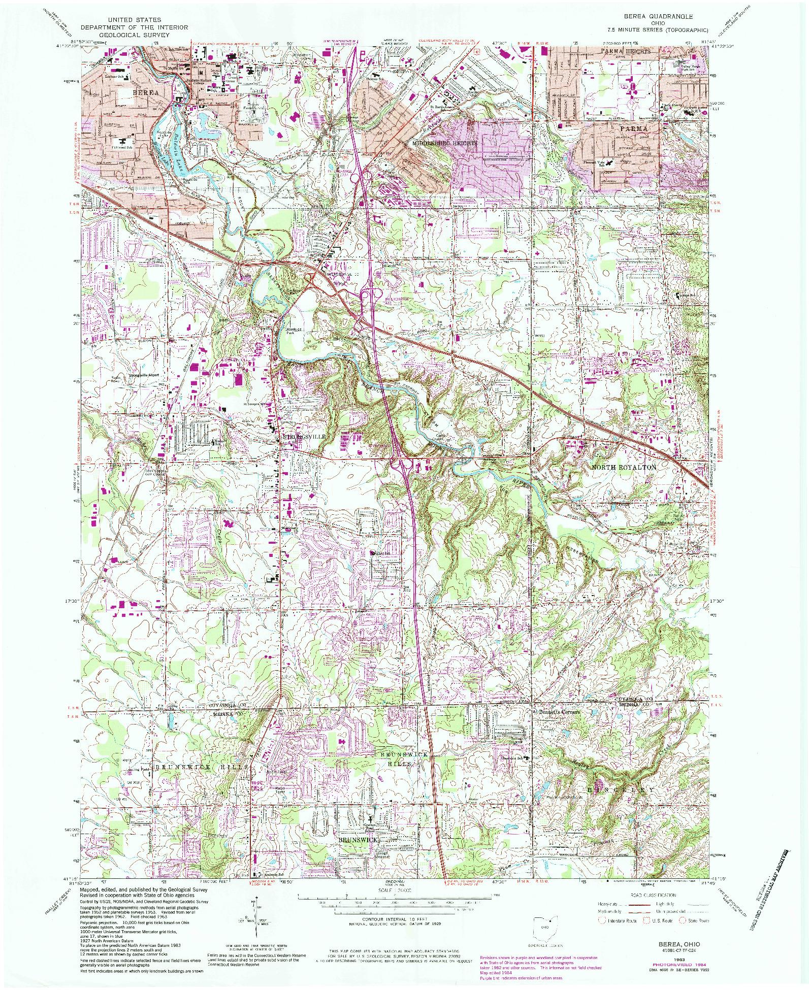 USGS 1:24000-SCALE QUADRANGLE FOR BEREA, OH 1963