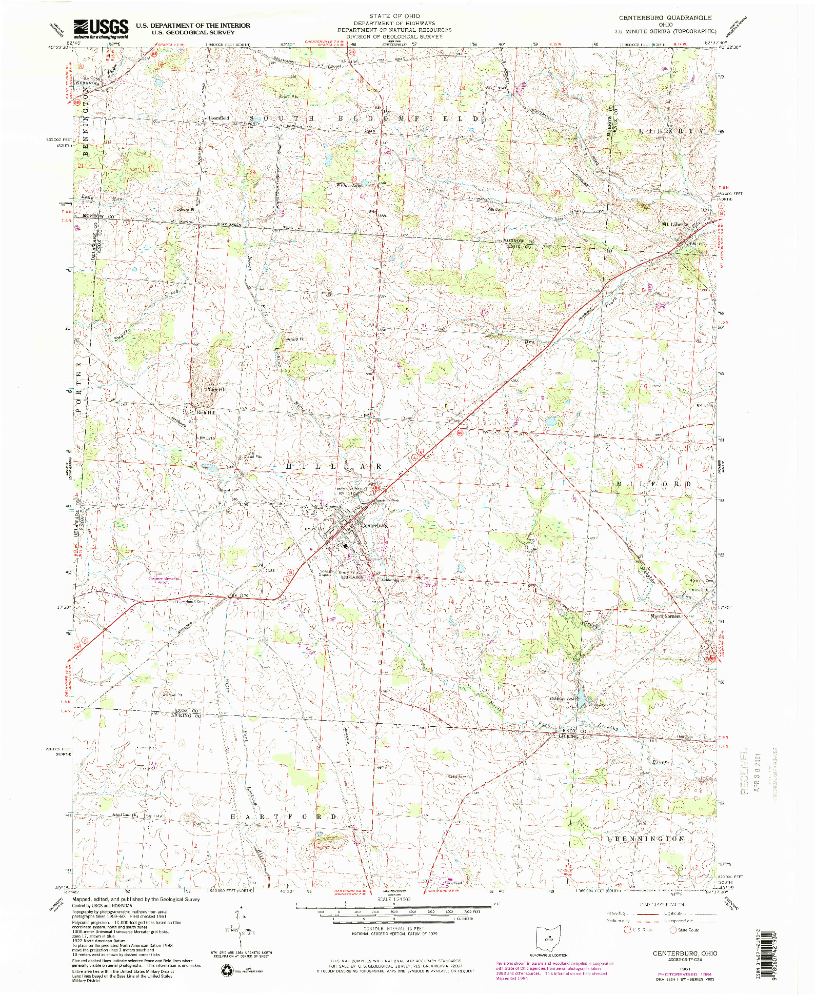USGS 1:24000-SCALE QUADRANGLE FOR CENTERBURG, OH 1961