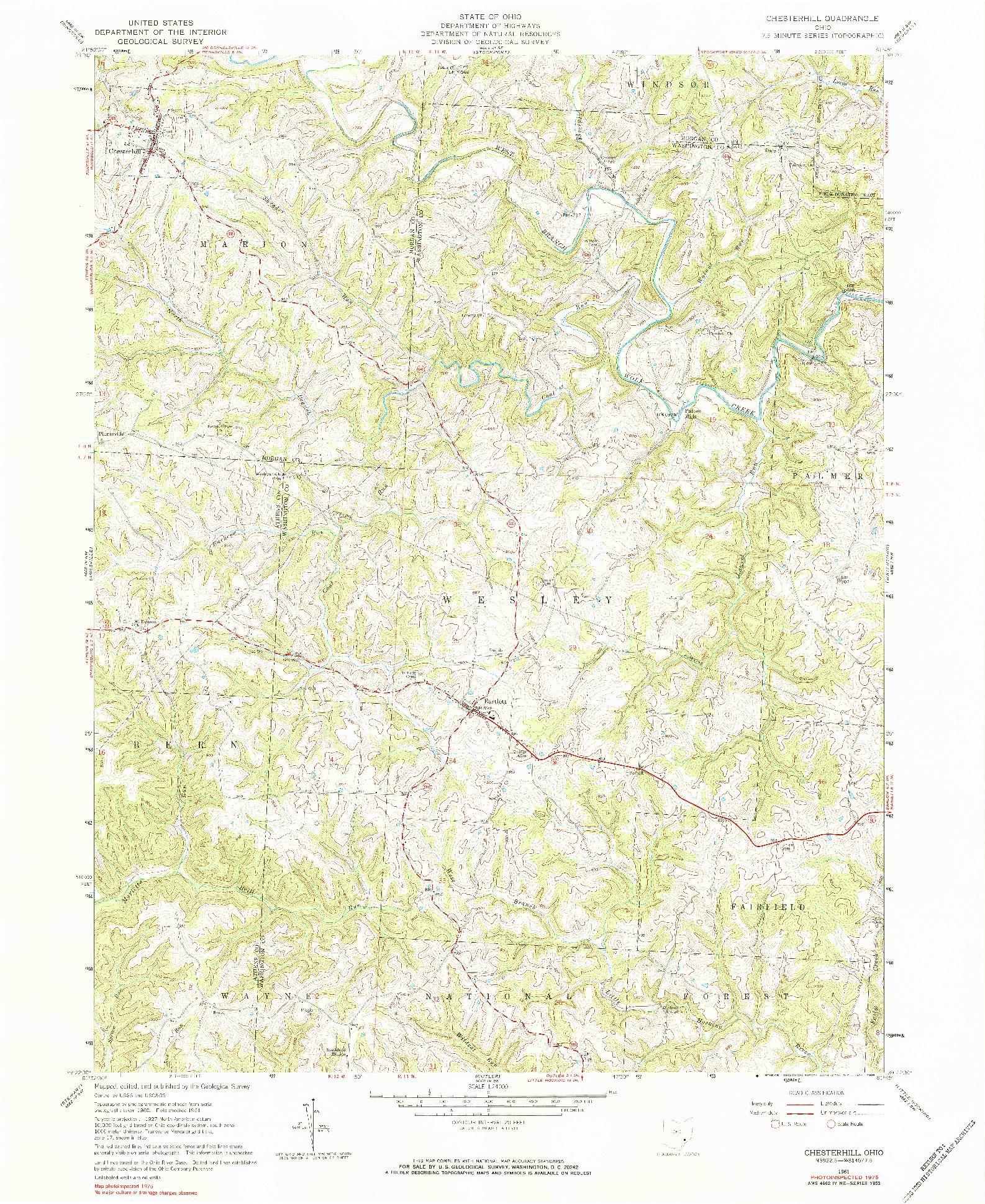 USGS 1:24000-SCALE QUADRANGLE FOR CHESTERHILL, OH 1961