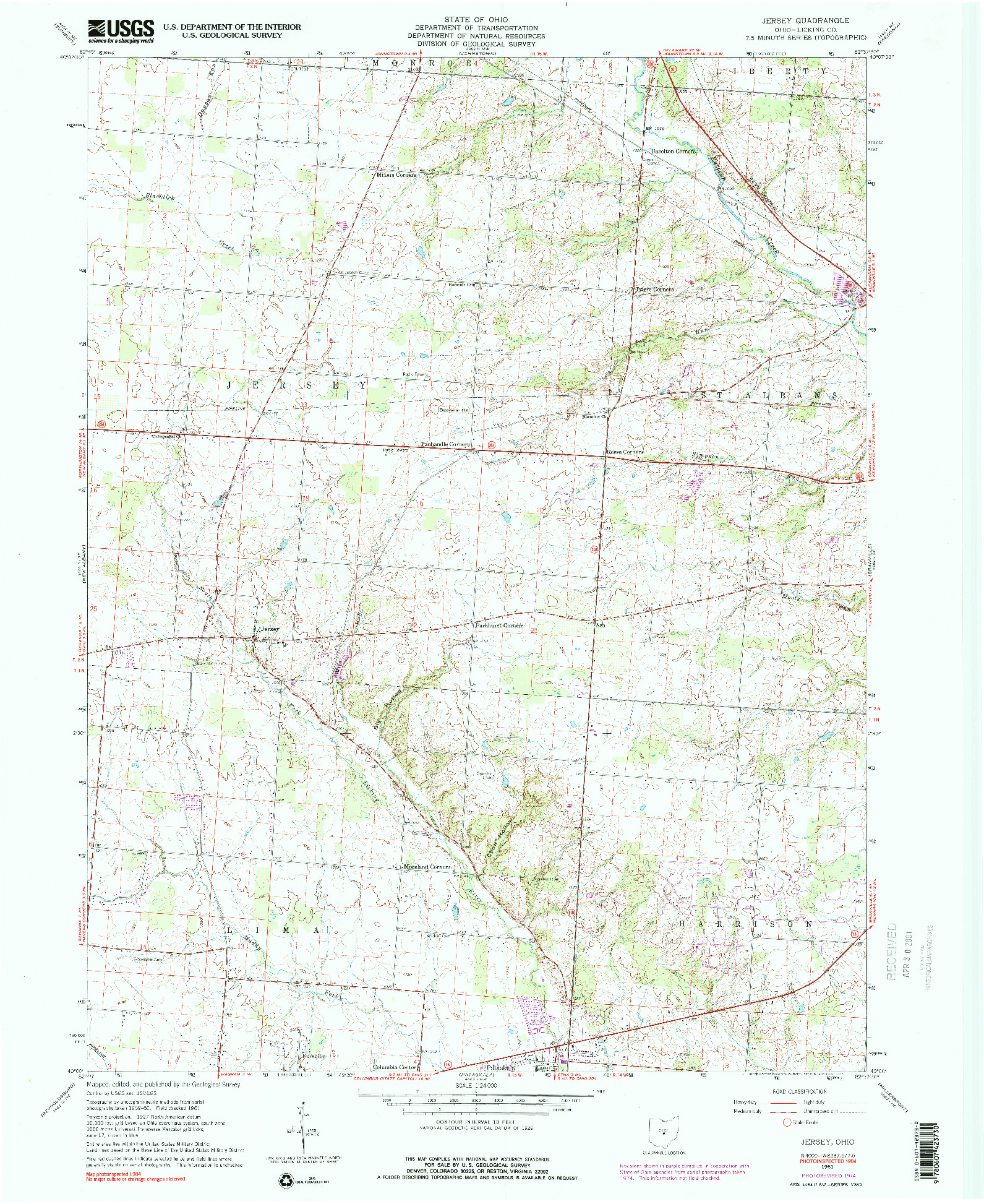 USGS 1:24000-SCALE QUADRANGLE FOR JERSEY, OH 1961