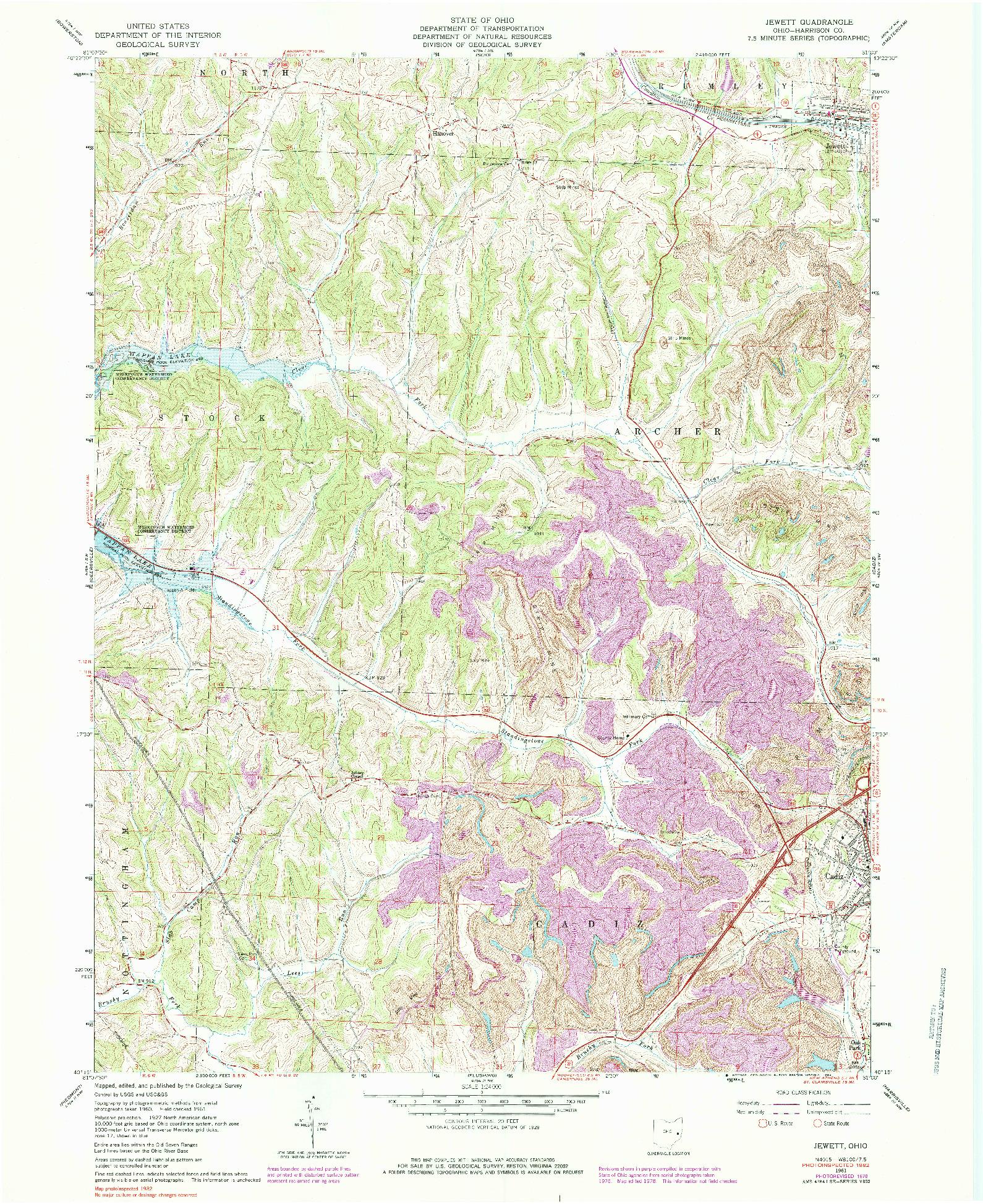 USGS 1:24000-SCALE QUADRANGLE FOR JEWETT, OH 1961