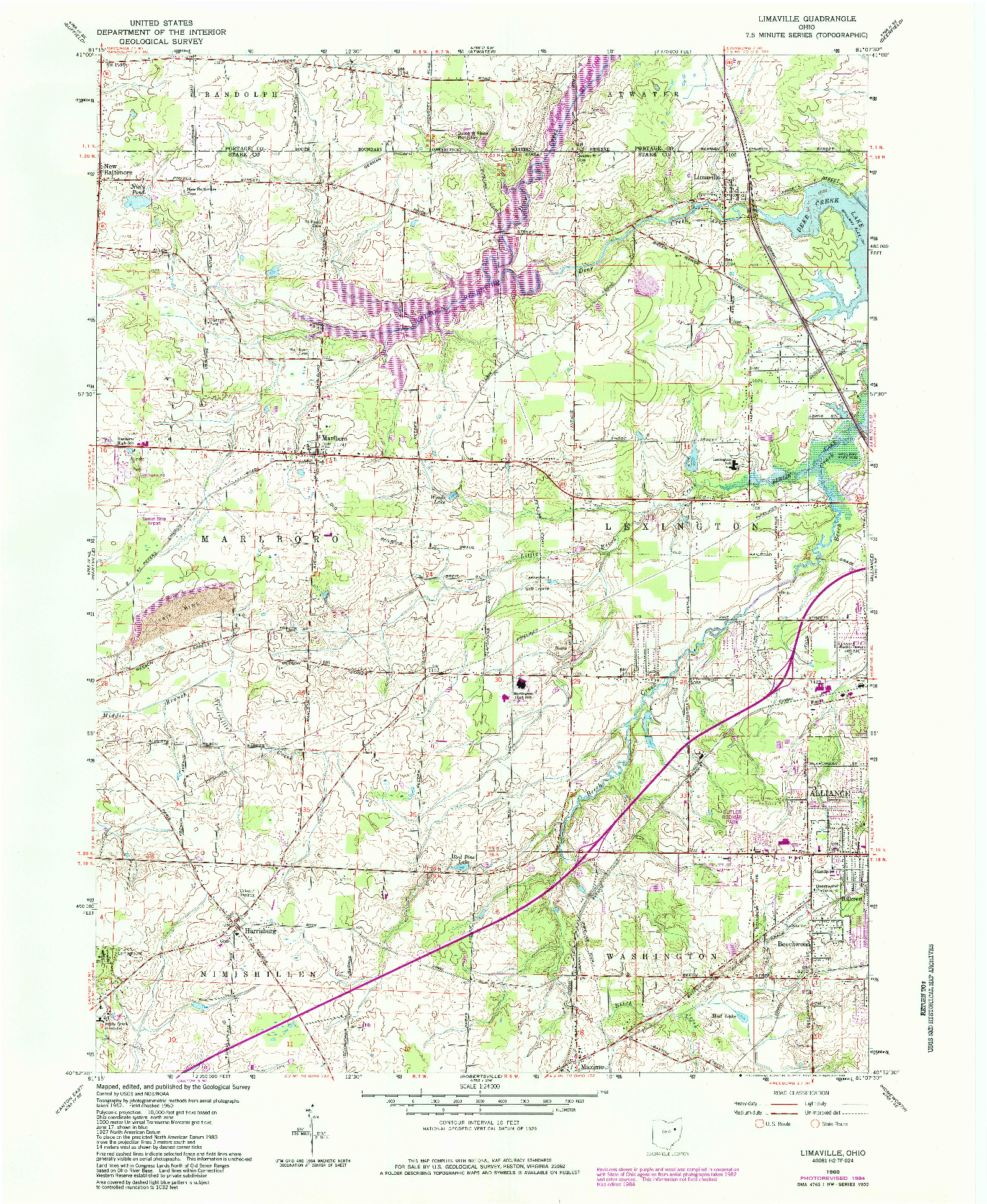 USGS 1:24000-SCALE QUADRANGLE FOR LIMAVILLE, OH 1960