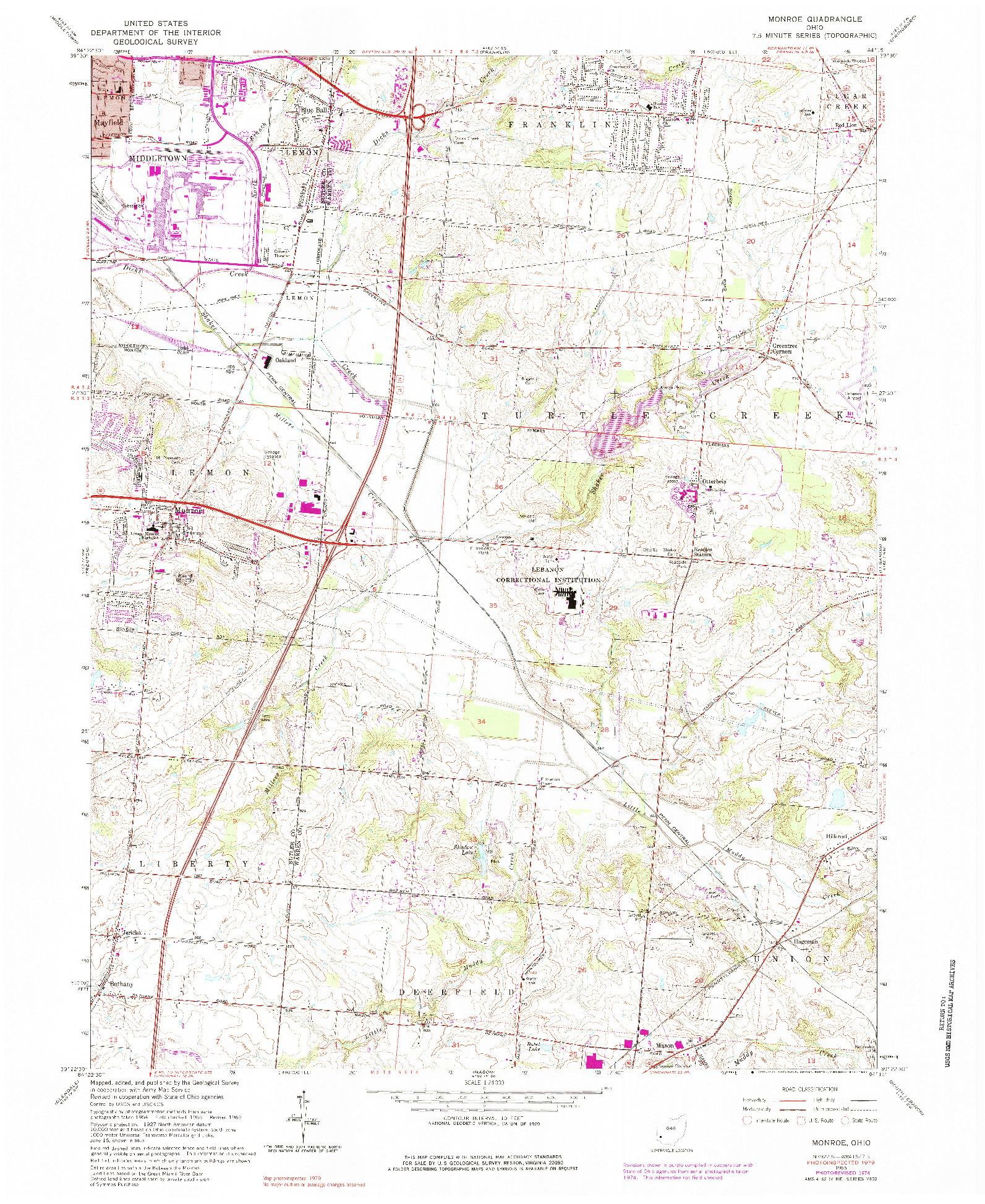USGS 1:24000-SCALE QUADRANGLE FOR MONROE, OH 1965