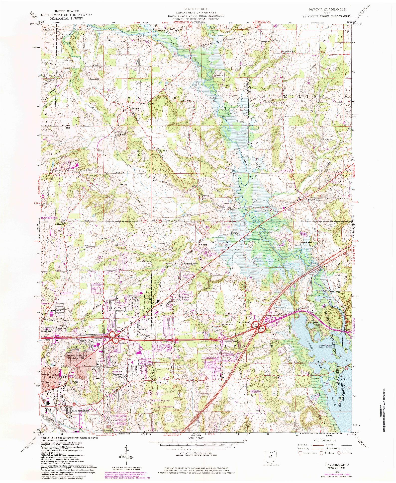 USGS 1:24000-SCALE QUADRANGLE FOR PAVONIA, OH 1960