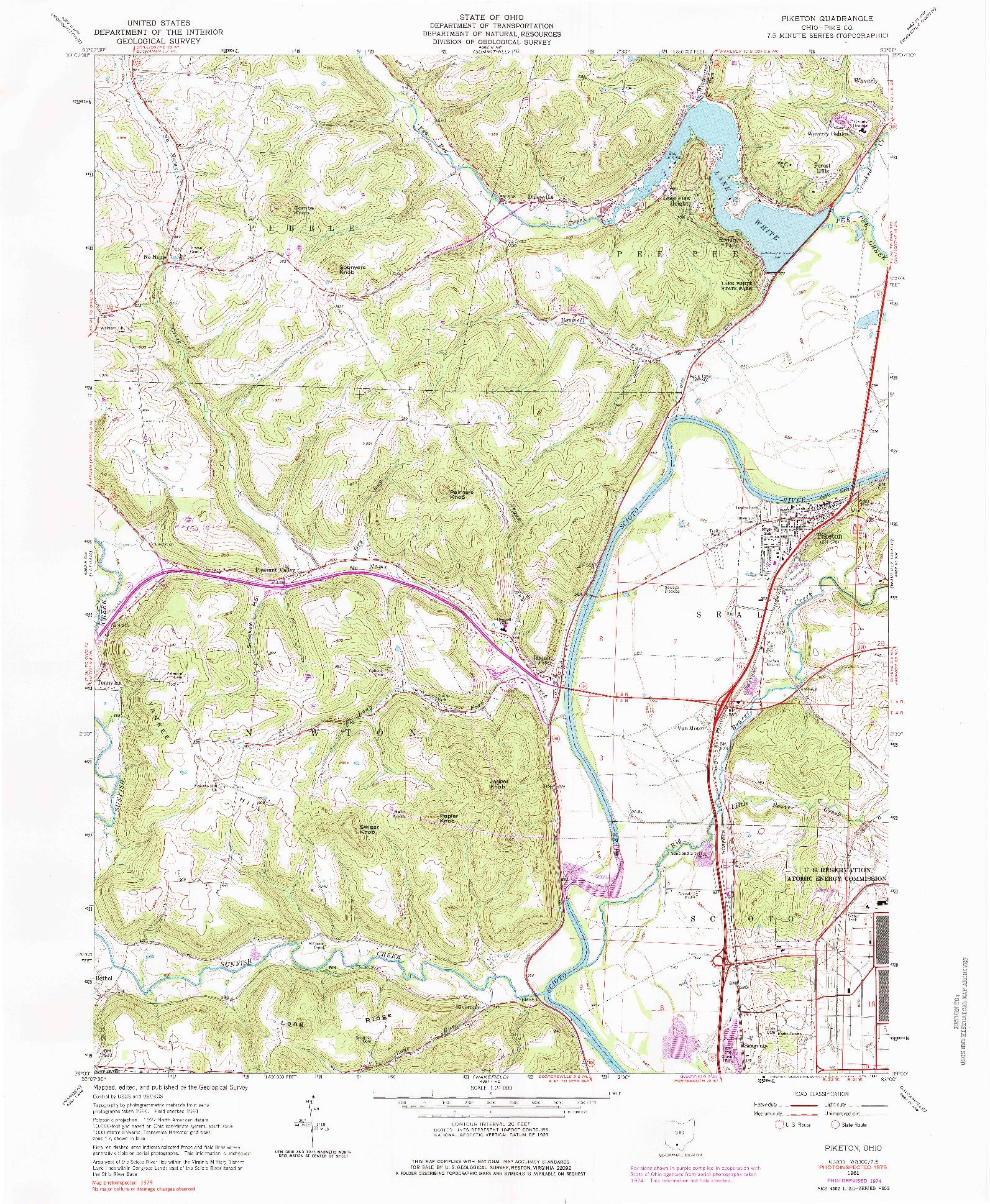 USGS 1:24000-SCALE QUADRANGLE FOR PIKETON, OH 1961