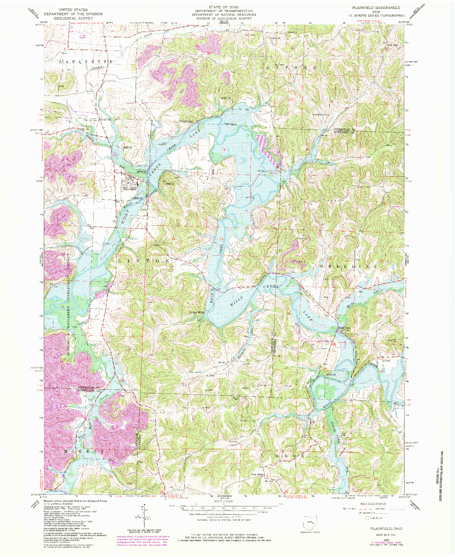 USGS 1:24000-SCALE QUADRANGLE FOR PLAINFIELD, OH 1962