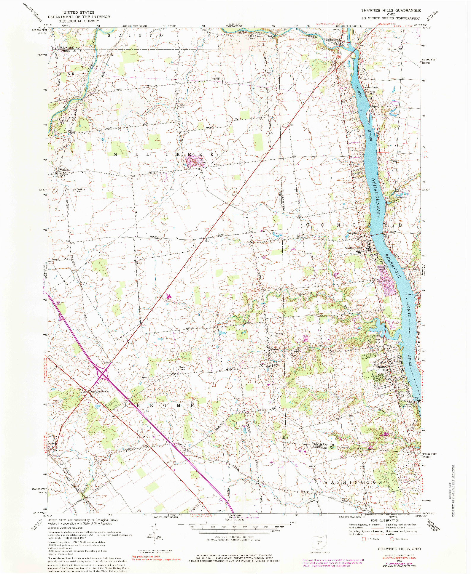 USGS 1:24000-SCALE QUADRANGLE FOR SHAWNEE HILLS, OH 1967