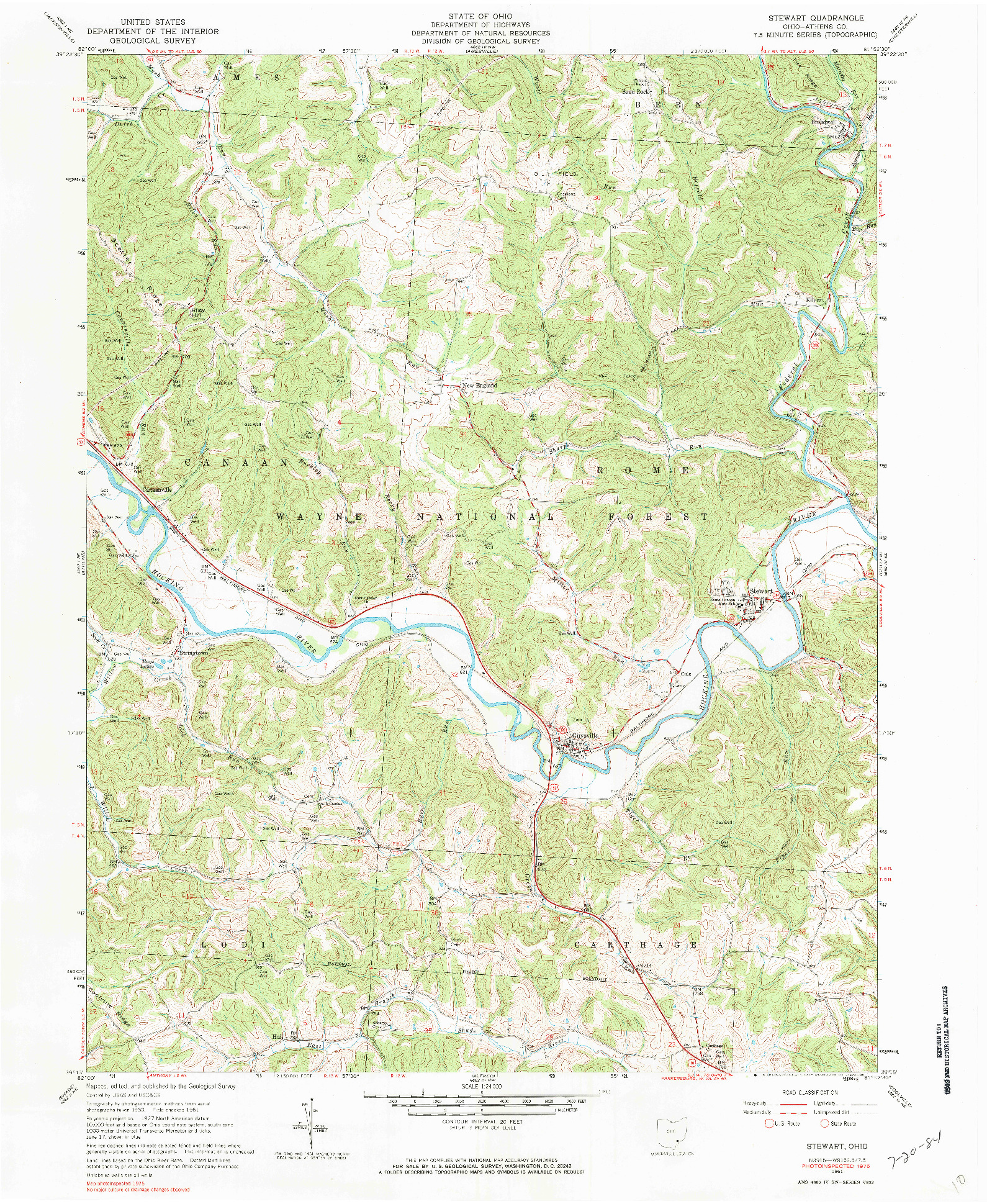 USGS 1:24000-SCALE QUADRANGLE FOR STEWART, OH 1961