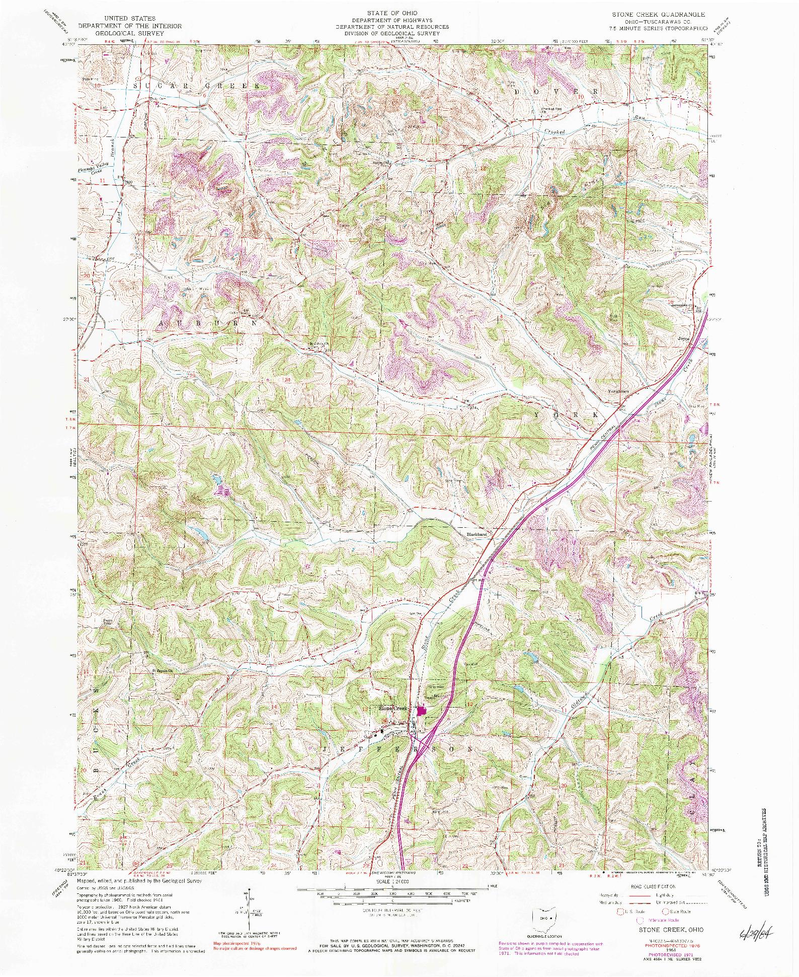 USGS 1:24000-SCALE QUADRANGLE FOR STONE CREEK, OH 1961