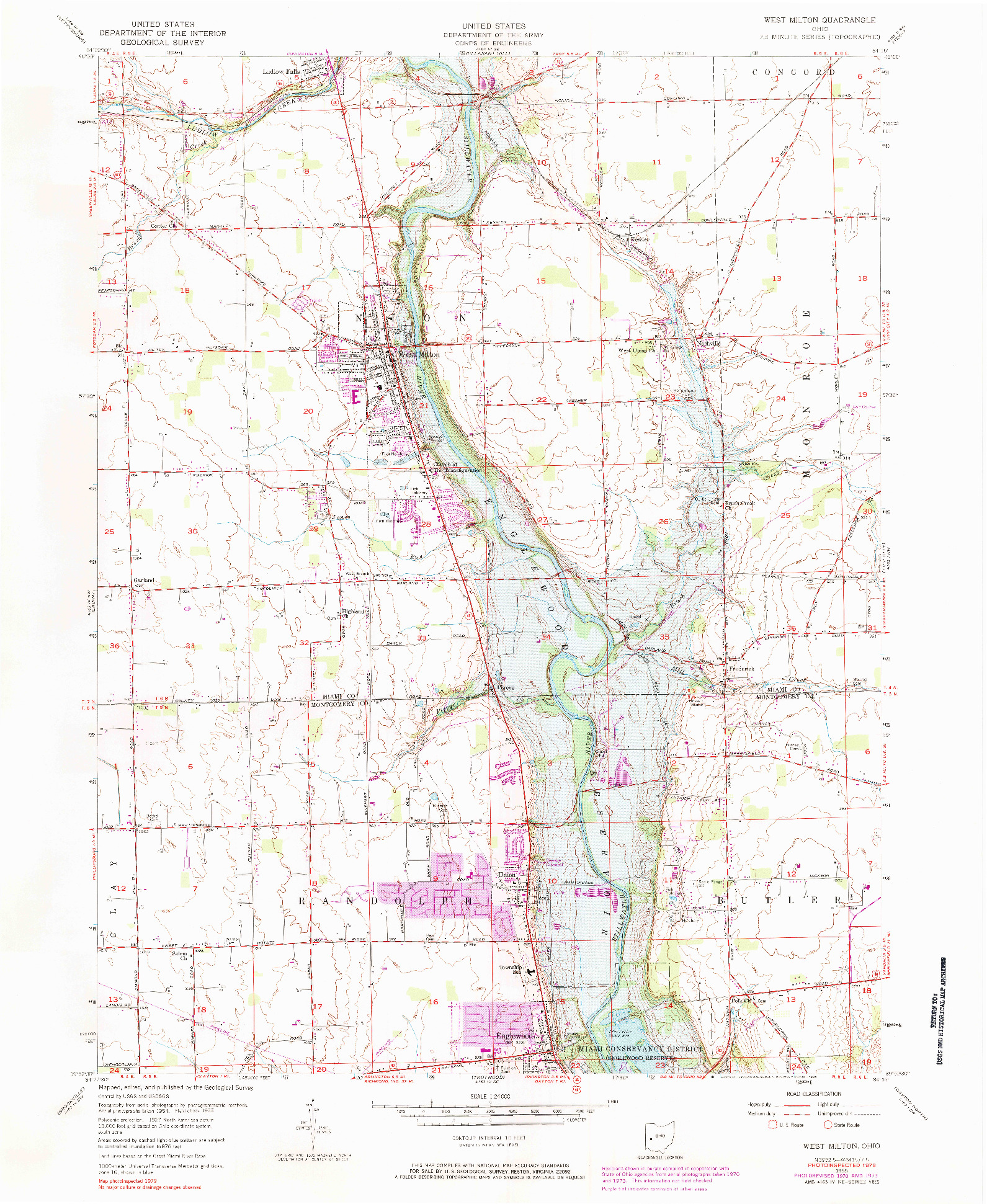 USGS 1:24000-SCALE QUADRANGLE FOR WEST MILTON, OH 1955