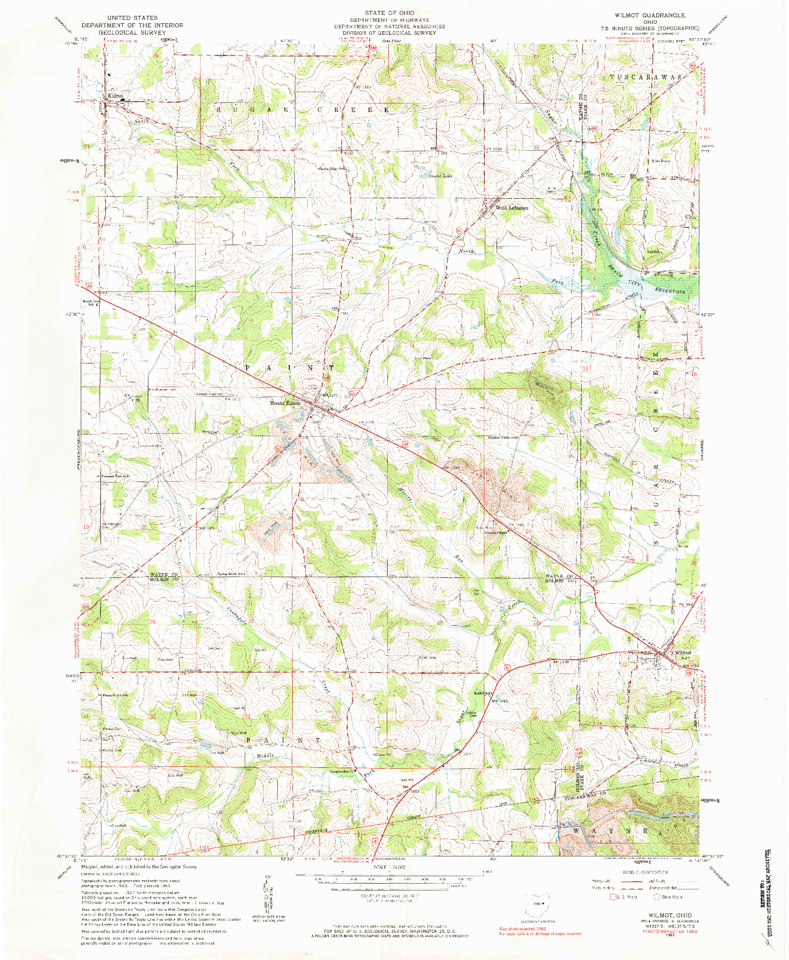 USGS 1:24000-SCALE QUADRANGLE FOR WILMOT, OH 1961