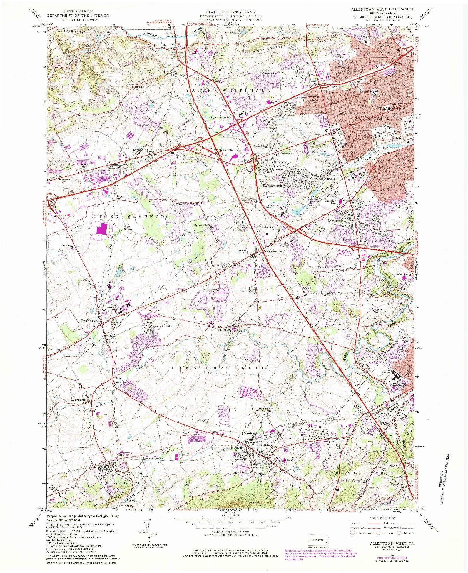 USGS 1:24000-SCALE QUADRANGLE FOR ALLENTOWN WEST, PA 1964