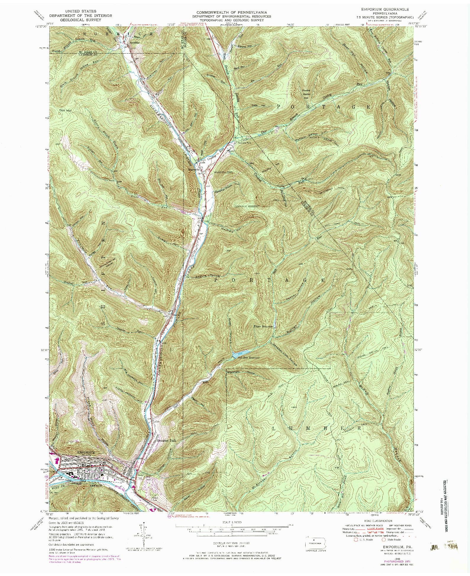 USGS 1:24000-SCALE QUADRANGLE FOR EMPORIUM, PA 1948