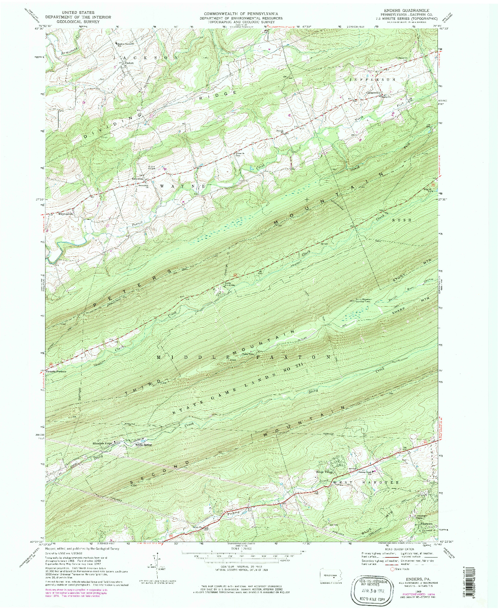 USGS 1:24000-SCALE QUADRANGLE FOR ENDERS, PA 1969
